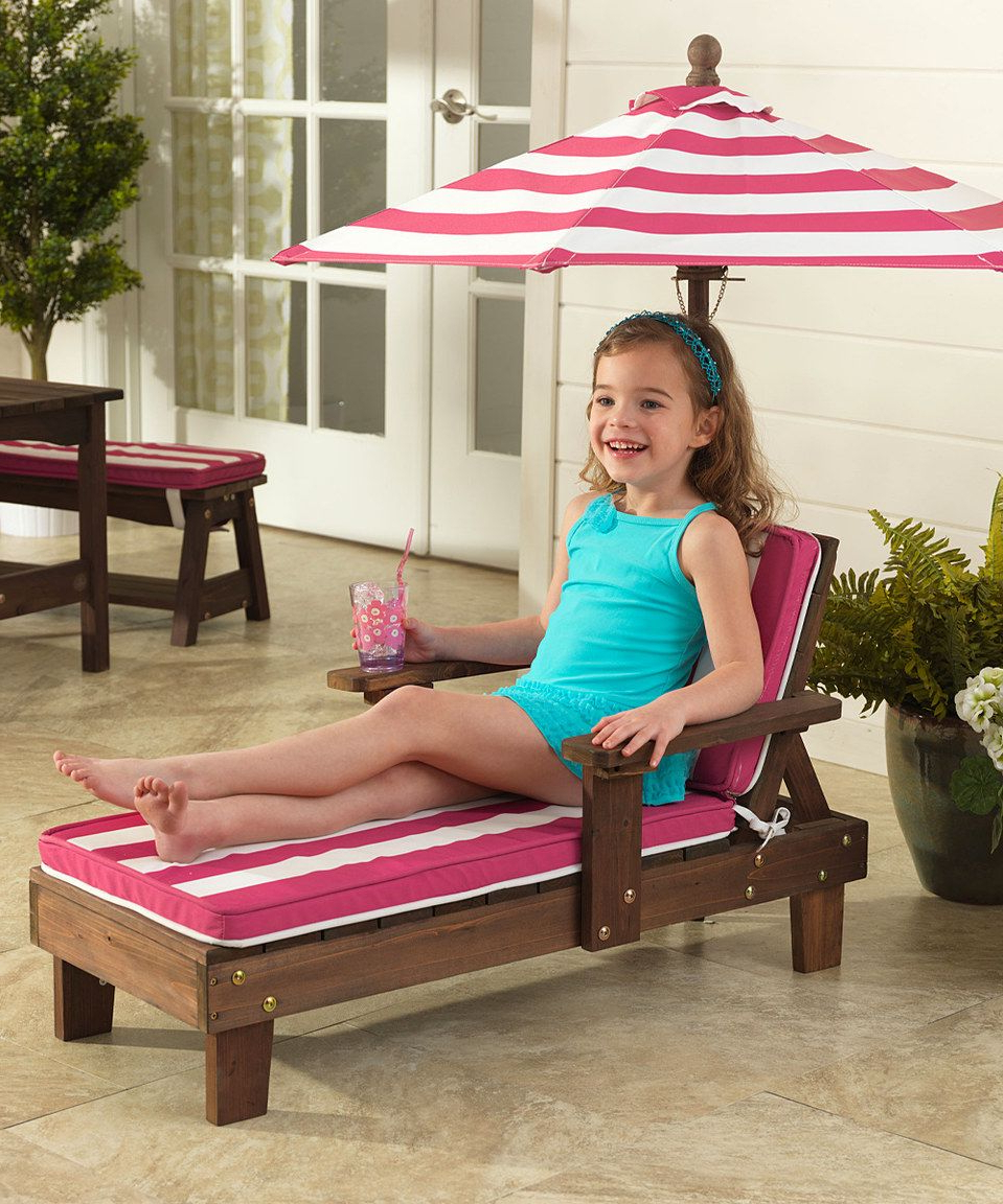 Love This Kidkraft Pink & White Stripe Outdoor Chaise Pertaining To Most Popular Striped Outdoor Chaises With Umbrella (View 9 of 25)