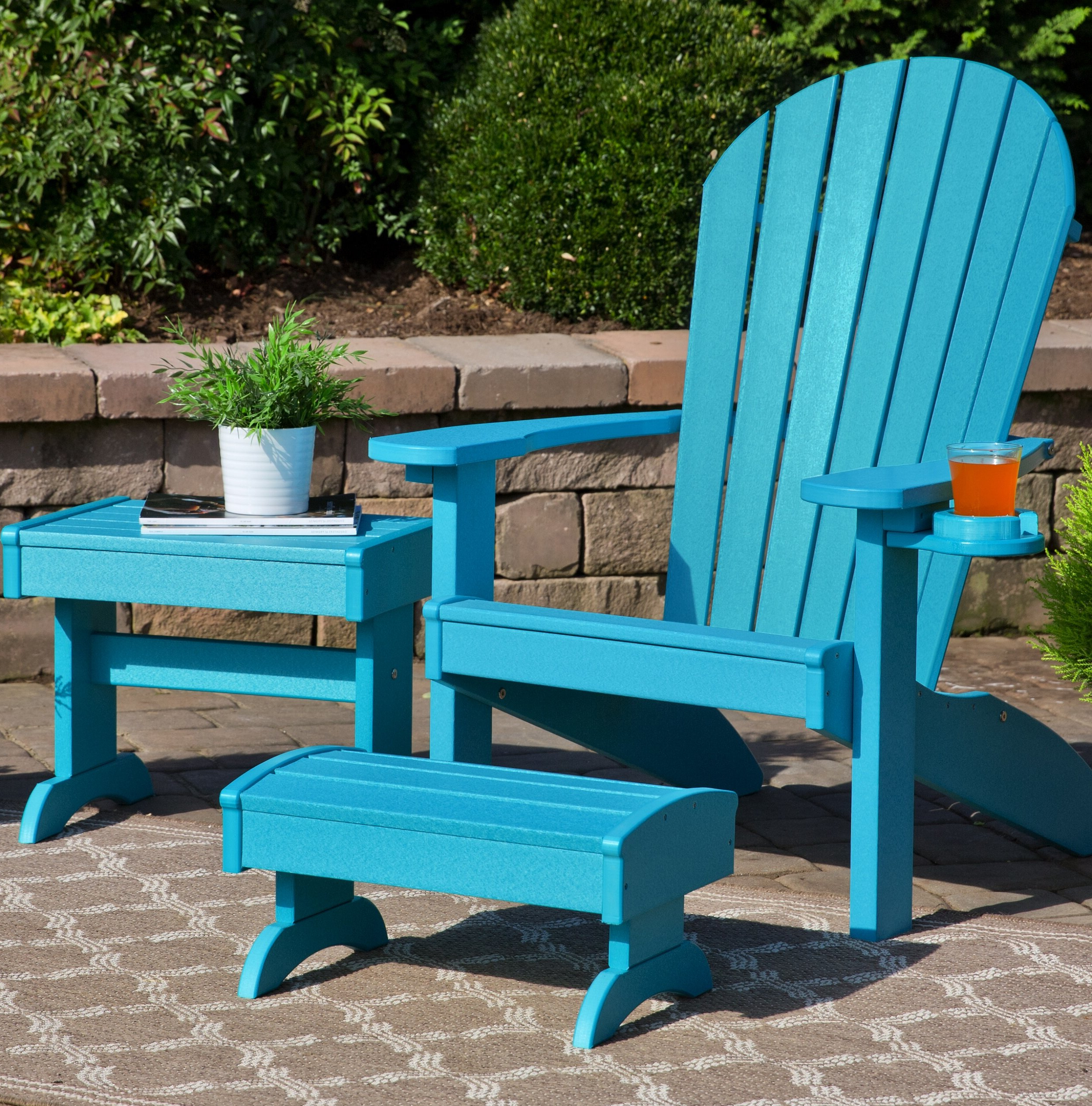 Mahogany Adirondack Chairs With Ottoman Pertaining To Favorite Kells 3 Piece Plastic Adirondack Chair Set With Ottoman And Table (View 19 of 25)
