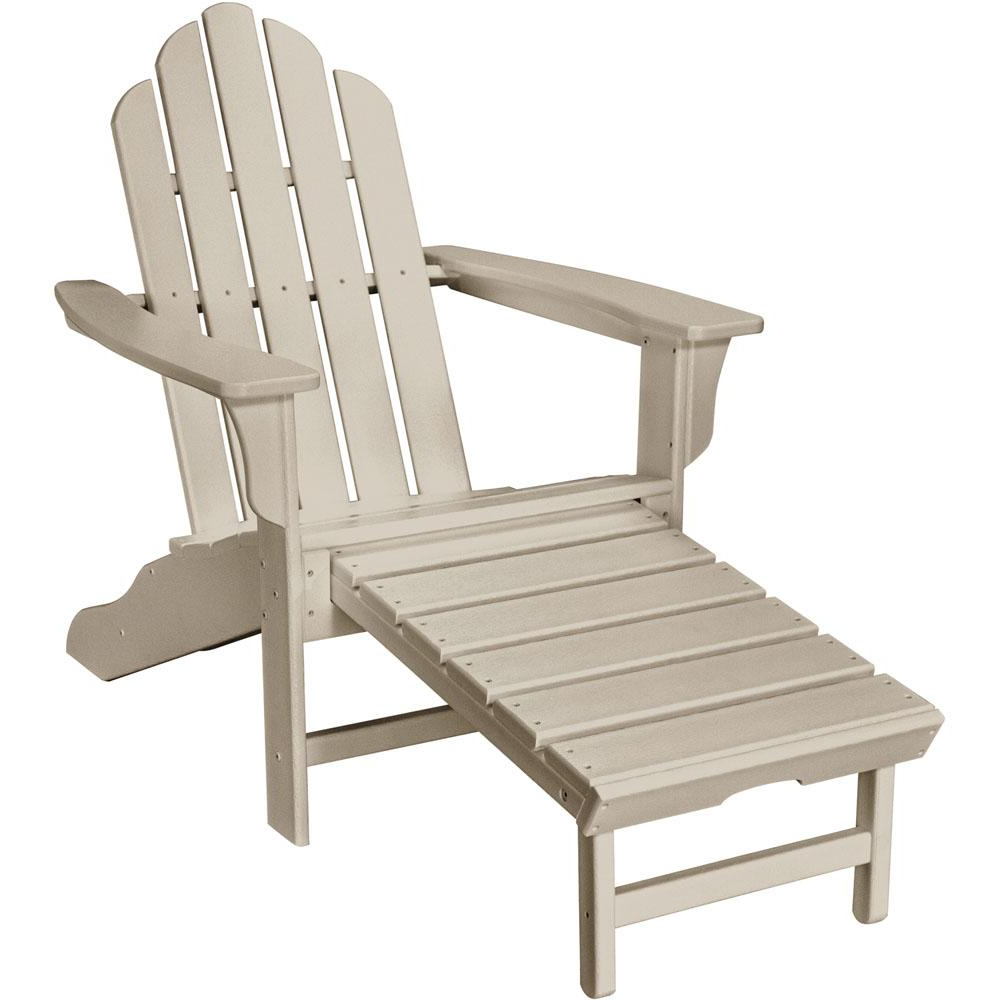 Mahogany Adirondack Chairs With Ottoman Pertaining To Well Known Hanover Sand All Weather Plastic Outdoor Adirondack Chair With Hide Away Ottoman (View 17 of 25)