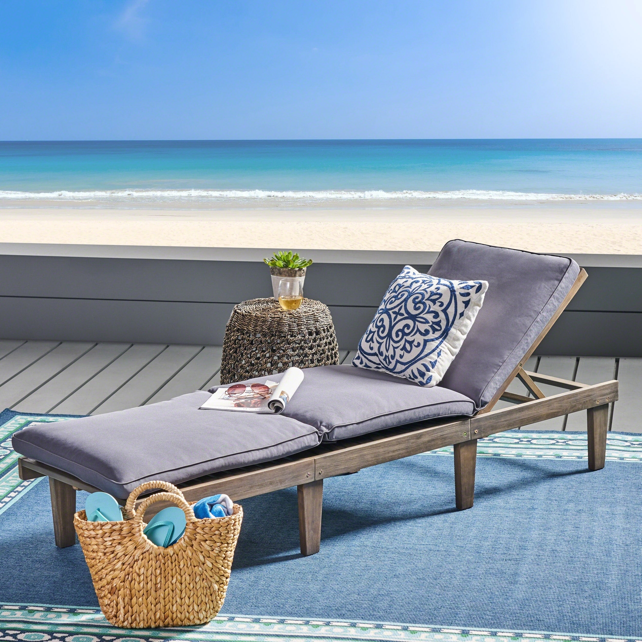 Maki Outdoor Wood Chaise Lounges In Most Recent Details About Ariana Acacia Outdoor Wood Chaise Lounge With Cushion By (View 22 of 25)