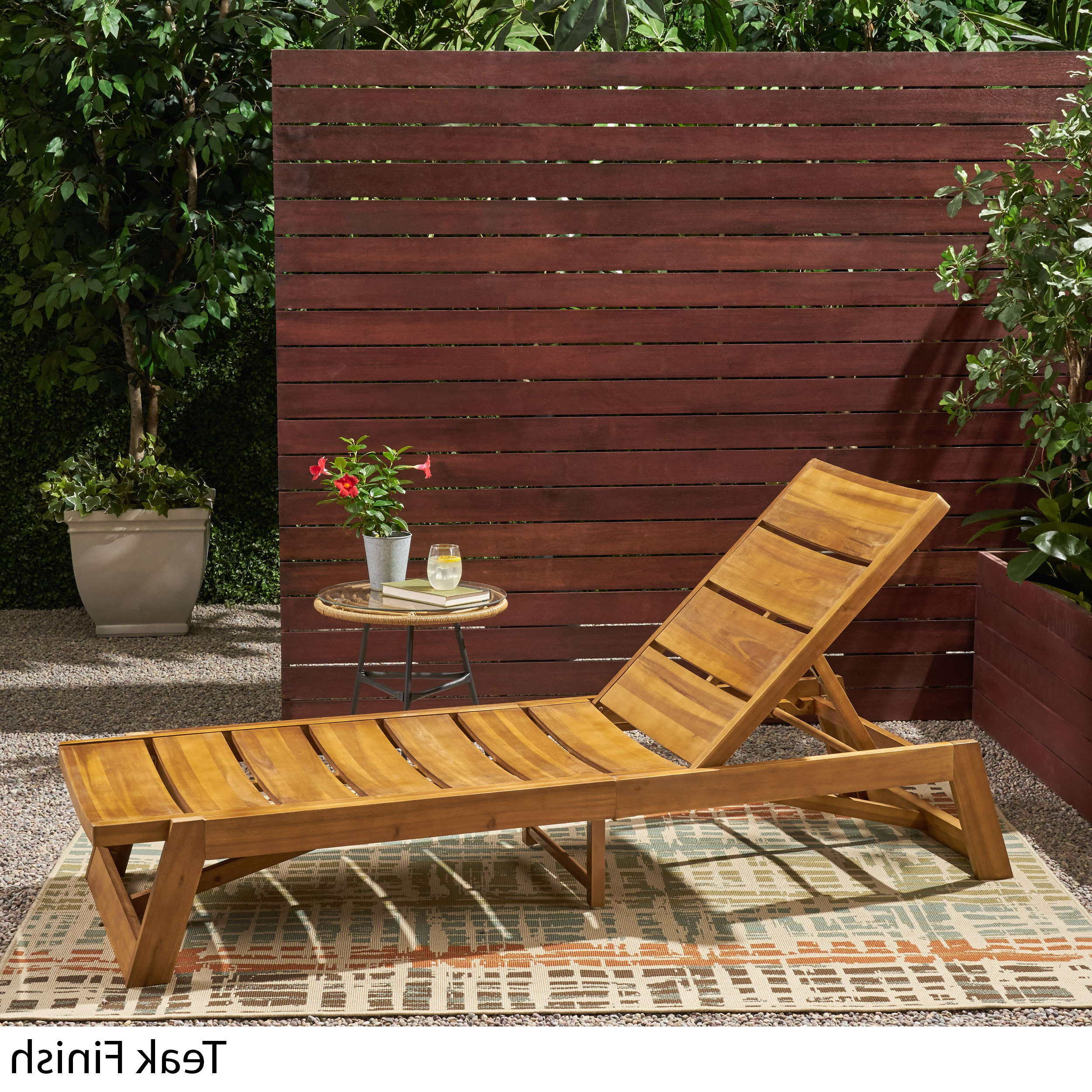 Maki Outdoor Wood Chaise Lounges Pertaining To Preferred Details About Maki Outdoor Wood And Iron Chaise Lounge (View 7 of 25)