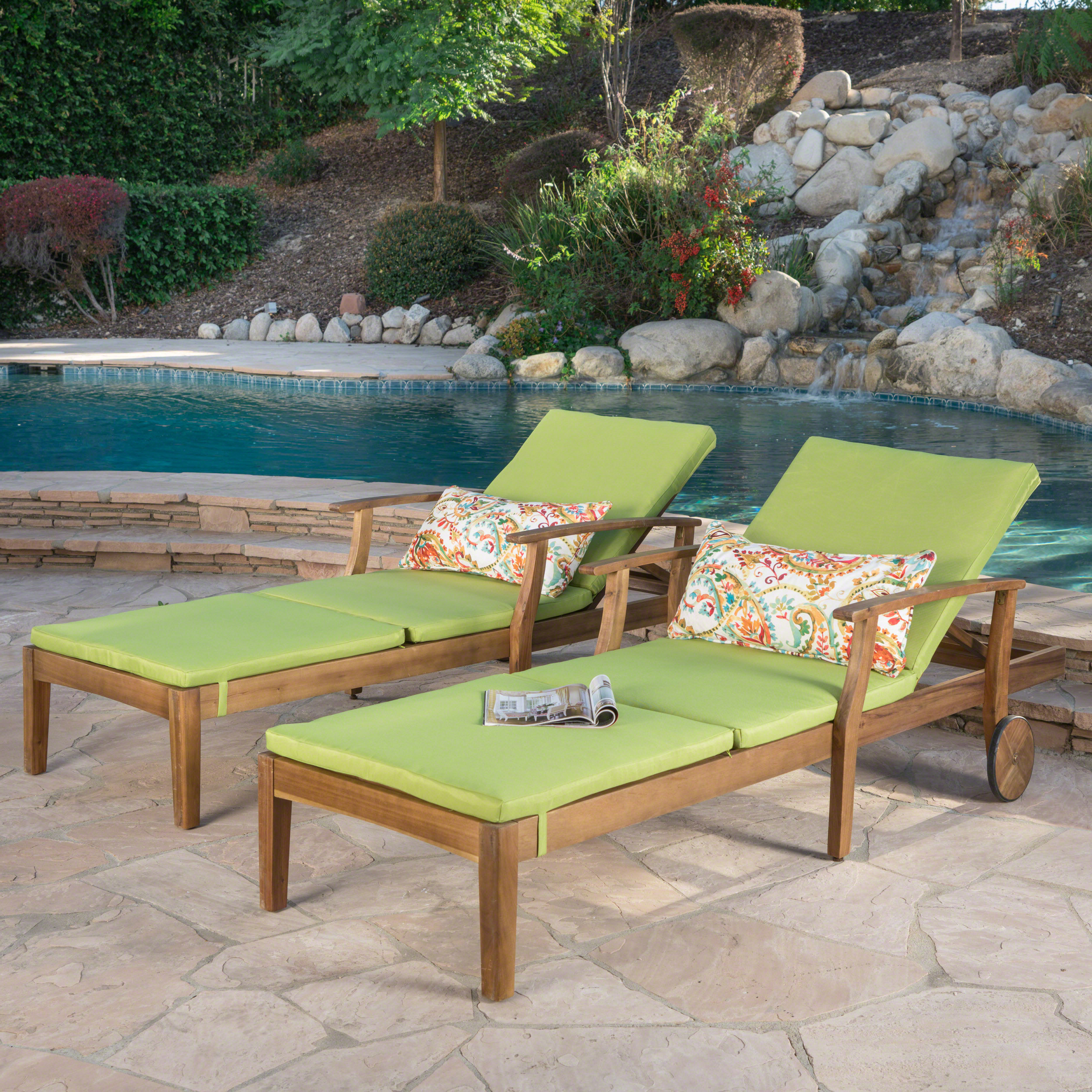 Mavis Outdoor Chaise Lounge With Cushion, Set Of 2, Teak Finish, Green Pertaining To Well Known Outdoor Acacia Wood Chaise Lounges And Cushion Sets (View 8 of 25)