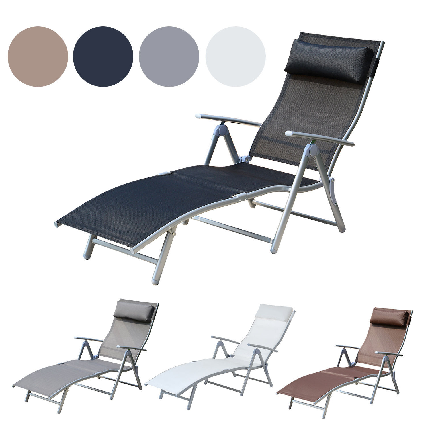 Mesh Fabric With Steel Frame Chairs With Canopy And Tray For Best And Newest Details About Chaise Lounge Chair Folding Pool Beach Yard Adjustable Patio Furniture Recliner (Gallery 9 of 25)