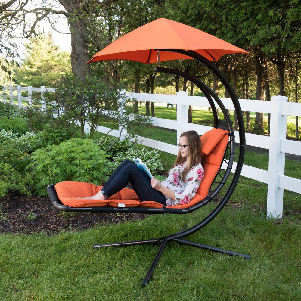 Mesh Fabric With Steel Frame Chairs With Canopy And Tray With Fashionable Vivere Original Dream Single Motion Patio Lounge Chair With Orange Zest Cushion (Gallery 12 of 25)
