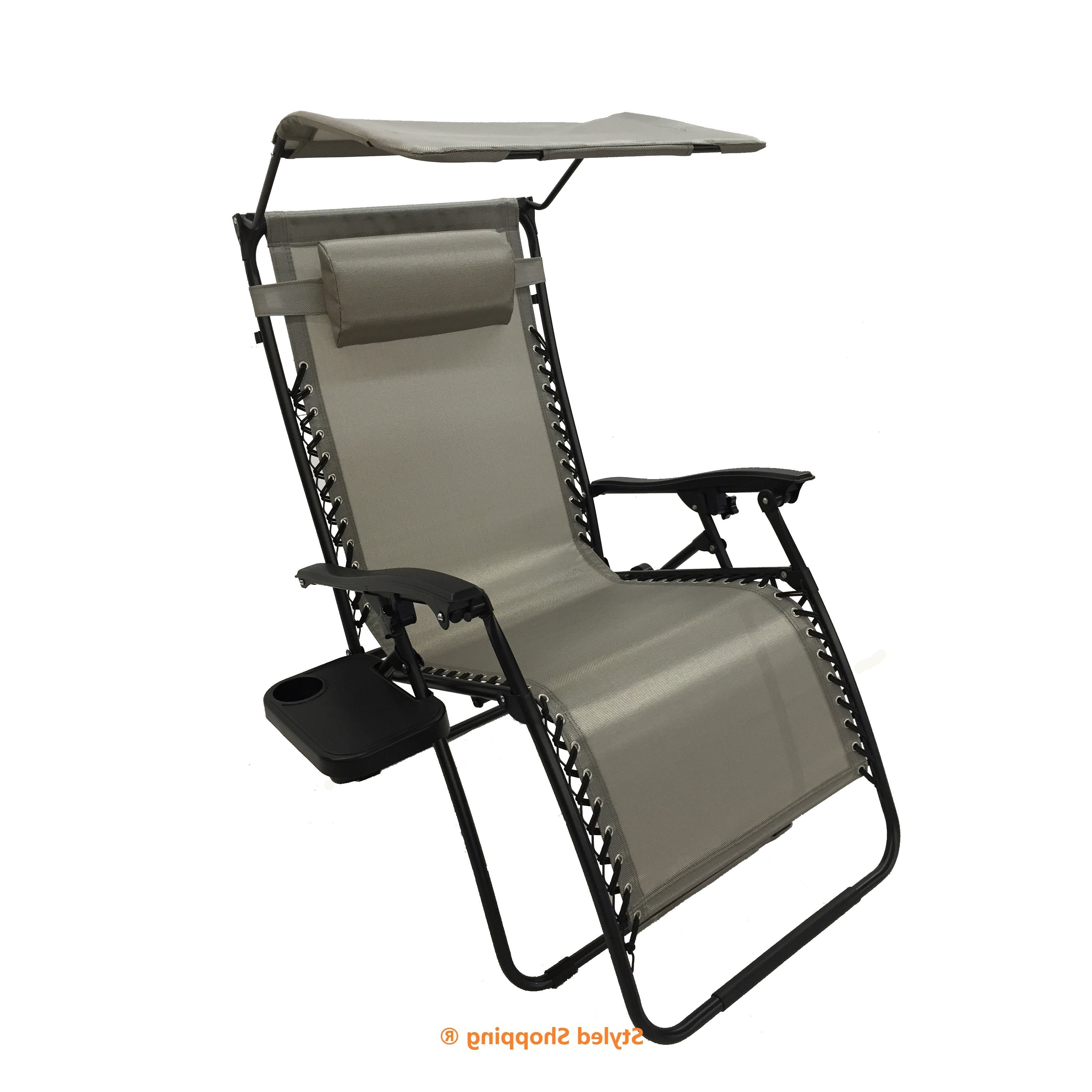 Mesh Fabric With Steel Frame Zero Gravity Chair With Canopy And Tray With Most Recently Released Oversized Extra Large Chairs With Canopy And Tray (View 10 of 25)