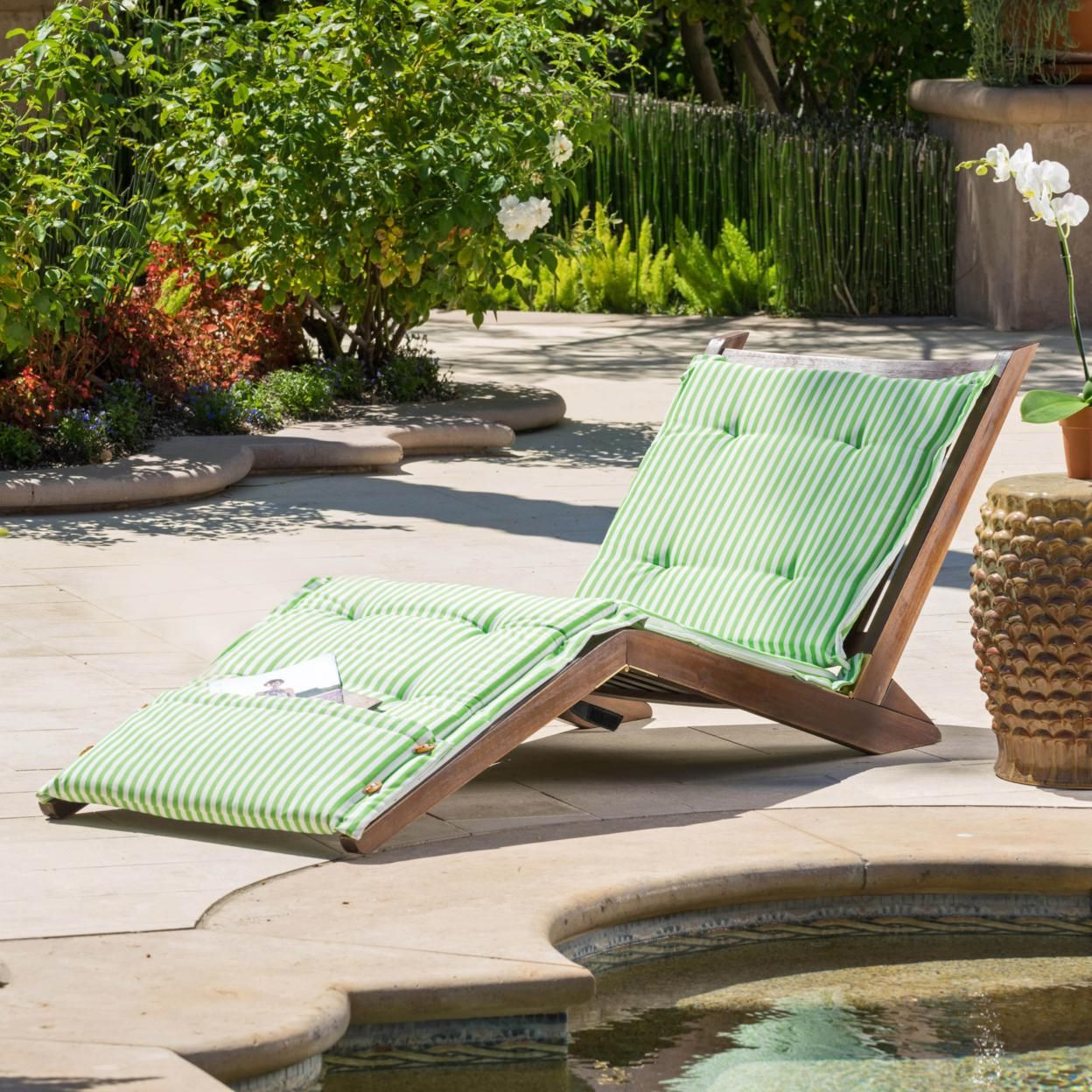 Midori Mahogany Wood Folding Chaise Lounger Chair W/ Green In Most Popular Cambridge Casual Sherwood Teak Chaise Lounges (View 20 of 25)