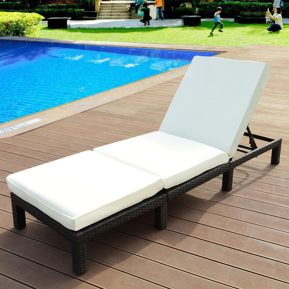 Modern Home Wailea Woven Rattan Loungers Regarding Well Known Costway Patio Adjustable Wicker Chaise Lounge Poolside Couch Furniture With Cushion (Gallery 3 of 25)