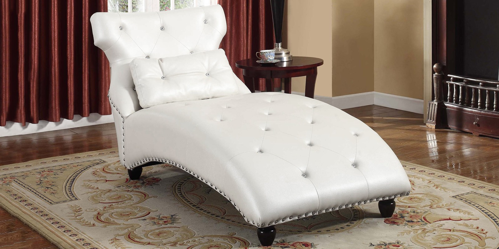 Modish Lounge Chaise In Pearl White Leatherette In Recent Pearl Chaise Lounges (View 9 of 25)