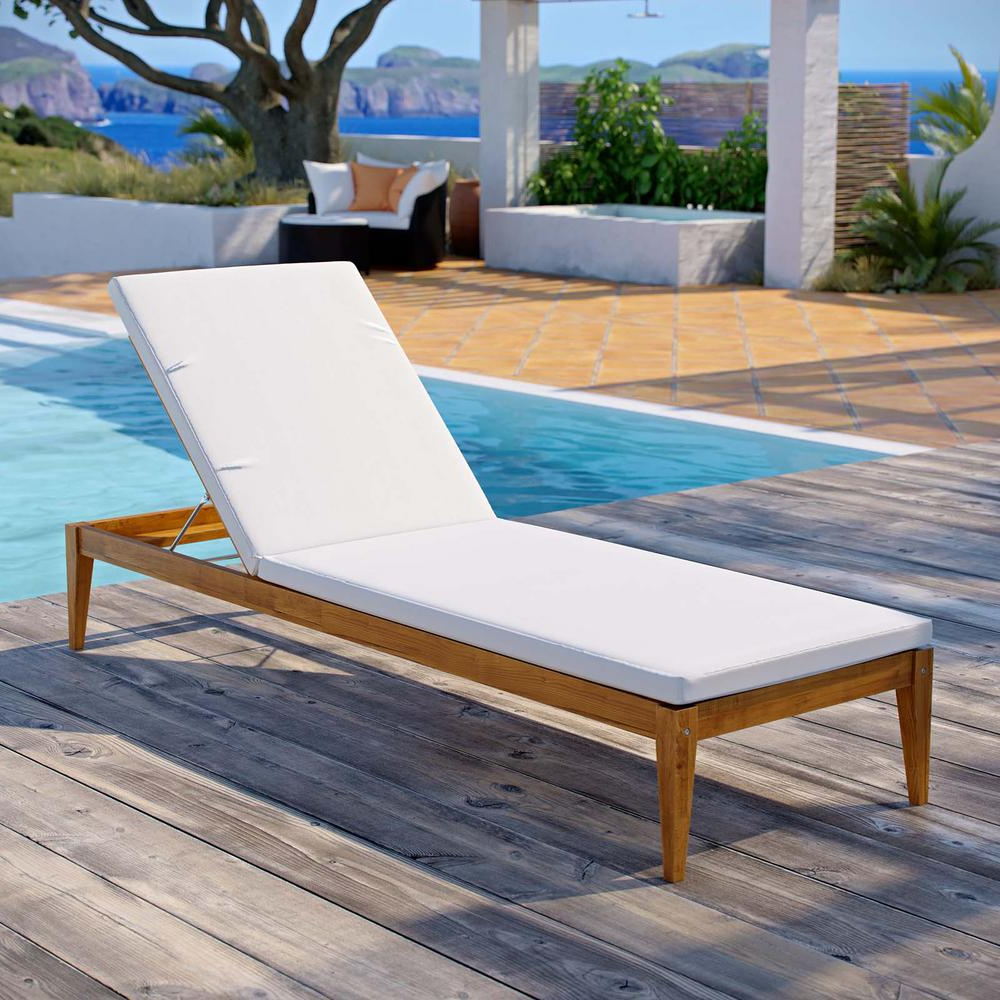 Modway Northlake Natural Grade A Teak Wood Outdoor Chaise Lounge With White  Cushions Pertaining To Popular Outdoor Living Inglewood Brown Acacia Wood Beige Cushion Lounge Chairs (View 10 of 25)