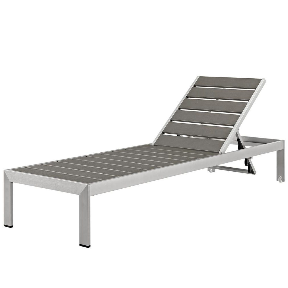 Modway Shore Patio Aluminum Outdoor Chaise Lounge In Silver Gray Throughout Current Cape Coral Outdoor Aluminum Chaise Lounges (View 19 of 25)