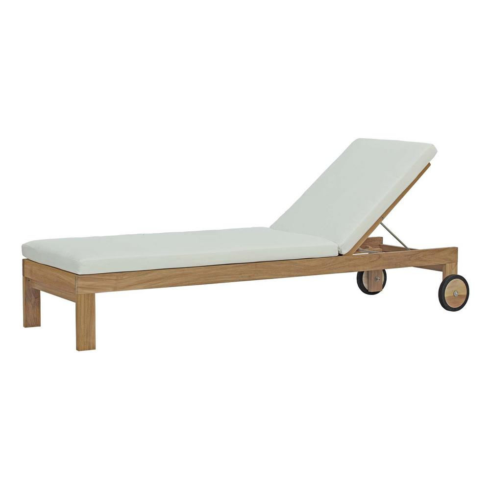 Modway Upland Patio Natural Teak Wood Outdoor Chaise Lounge With White Cushions Pertaining To Recent Lattice Outdoor Patio Pool Chaise Lounges With Wheels And Cushion (View 16 of 25)