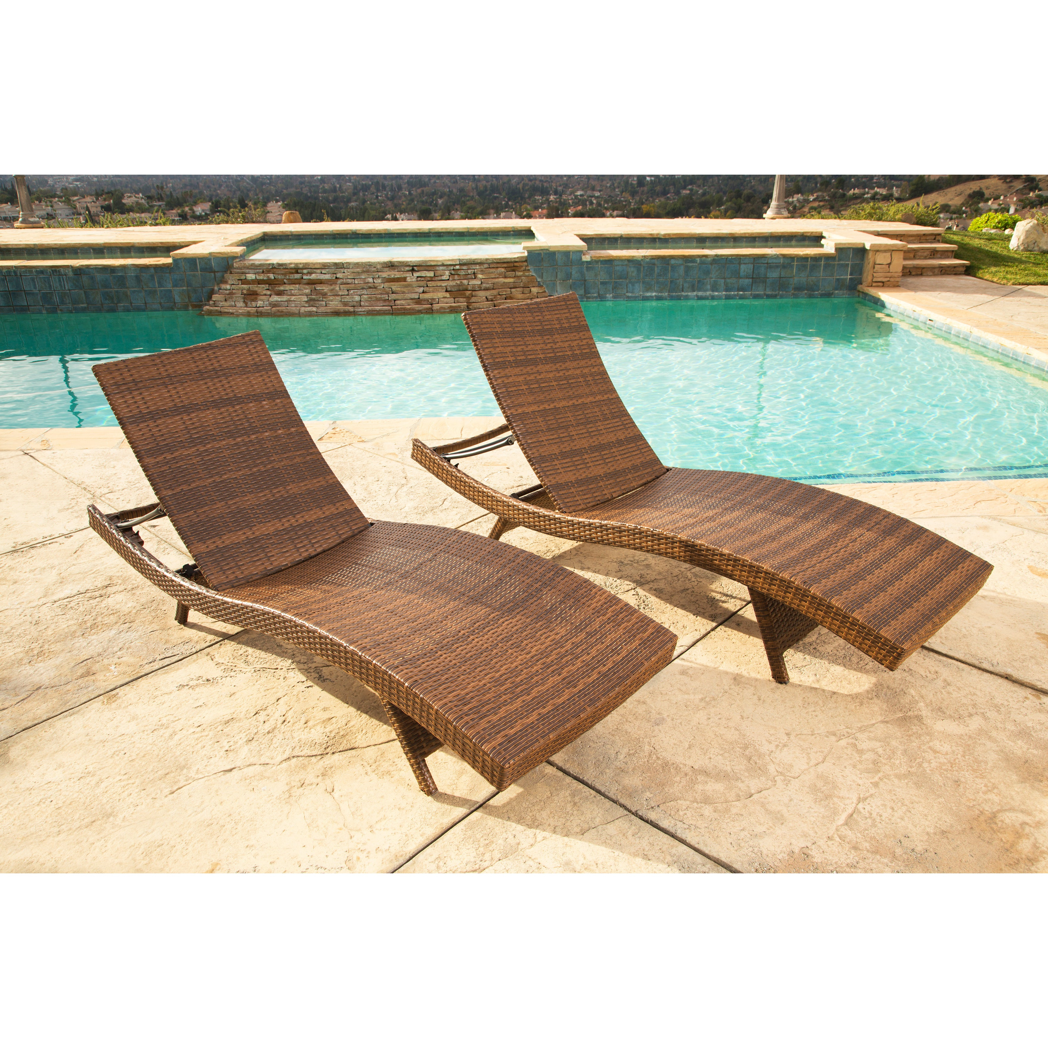 Most Current 2 Piece Outdoor Wicker Chaise Lounge Chairs With Regard To Abbyson Palermo Outdoor Brown Wicker Chaise Lounge (set Of 2) (View 6 of 25)