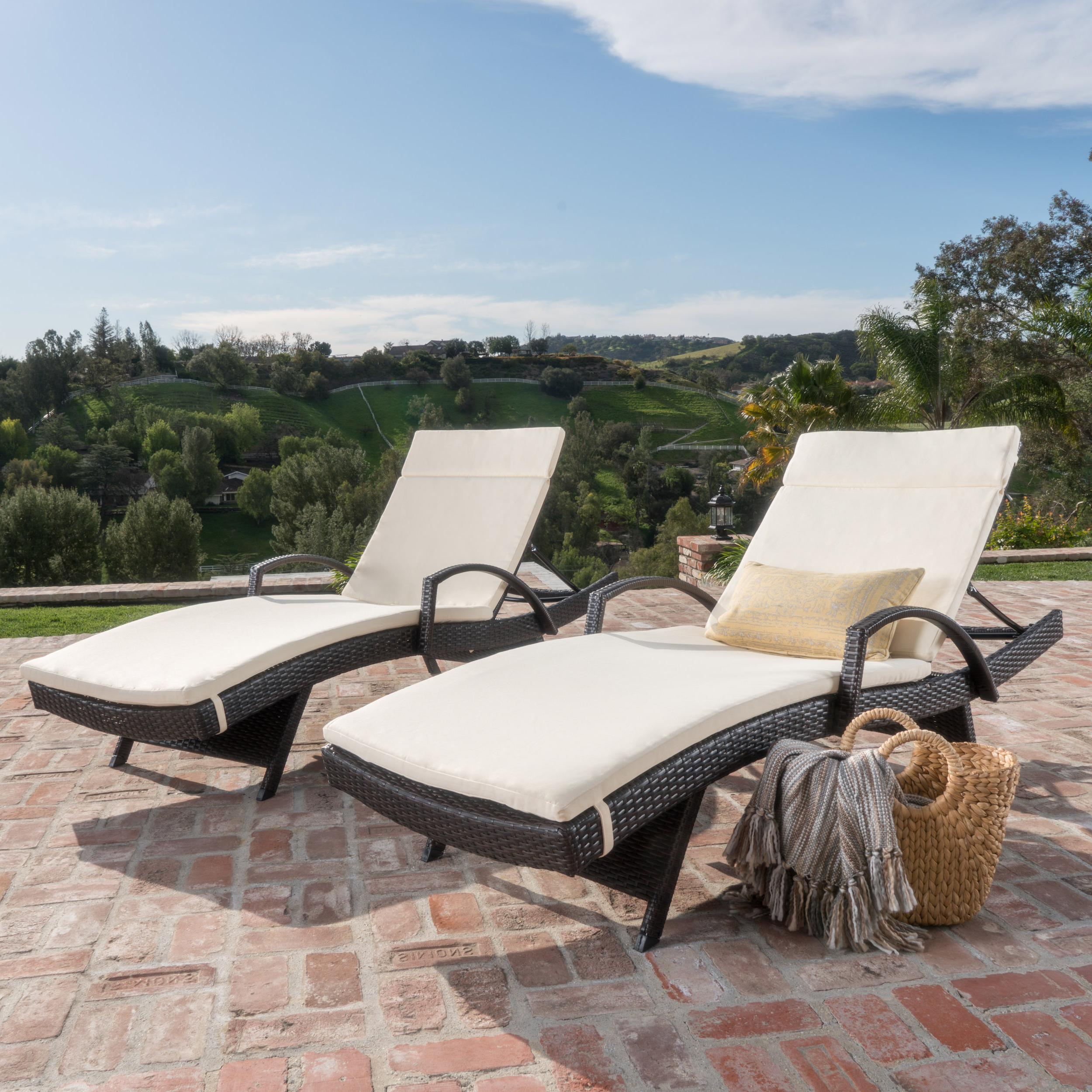 Most Current Anthony Outdoor Wicker Adjustable Chaise Lounge With Arms And Cushion, Set  Of 2, Multibrown, Ivory Inside Outdoor Wicker Adjustable Chaise Lounges With Cushions (View 9 of 25)