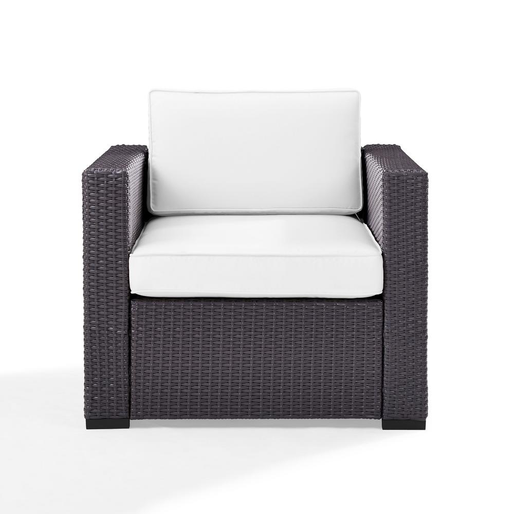 Most Current Biscayne White Chaise Lounge Chairs Regarding Crosley Biscayne Wicker Outdoor Patio Lounge Chair With White Cushions (View 19 of 25)