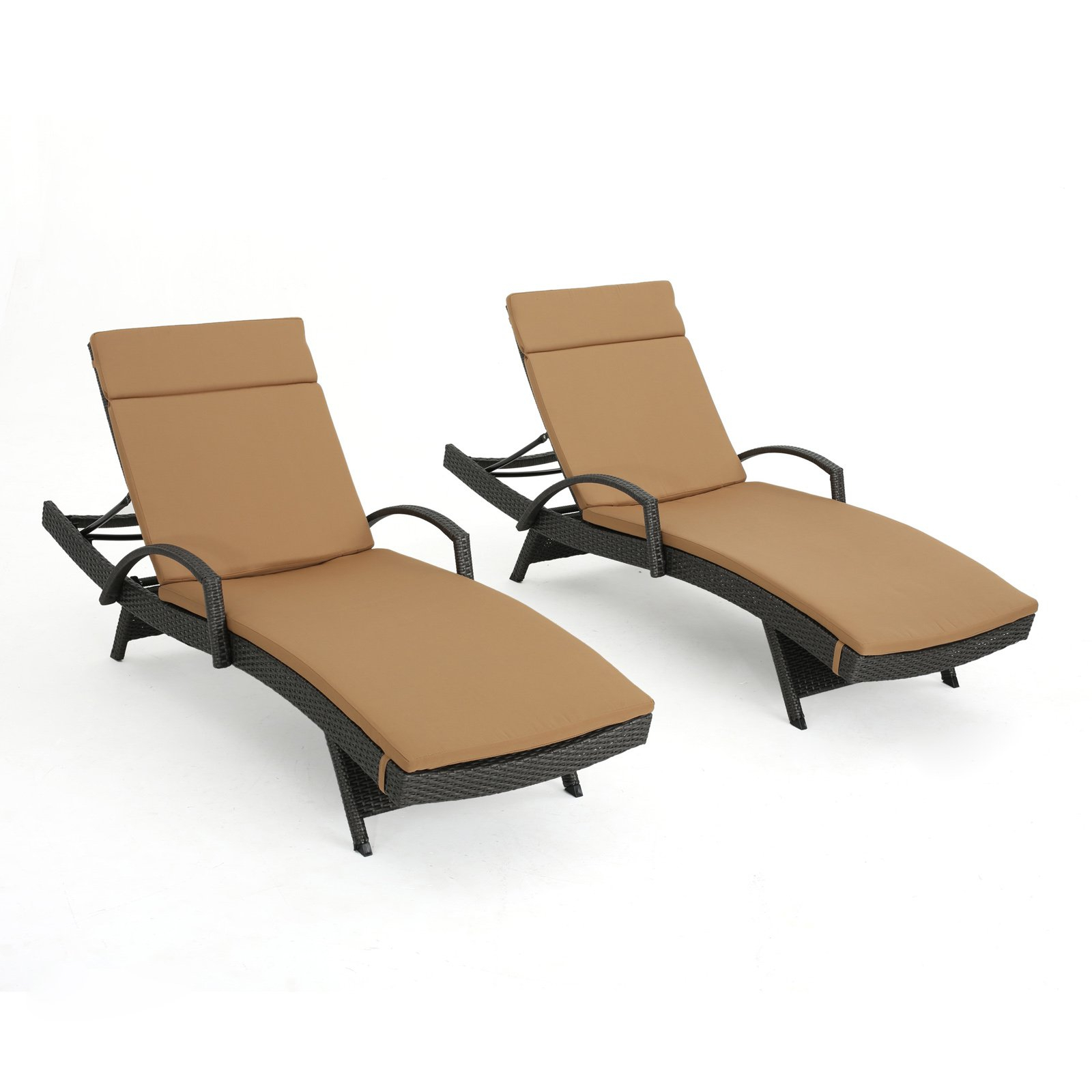 Most Current Corliving Riverside Textured Loungers Intended For Salem Outdoor Wicker Arm Chaise Lounge With Cushion – Set Of (Gallery 14 of 25)