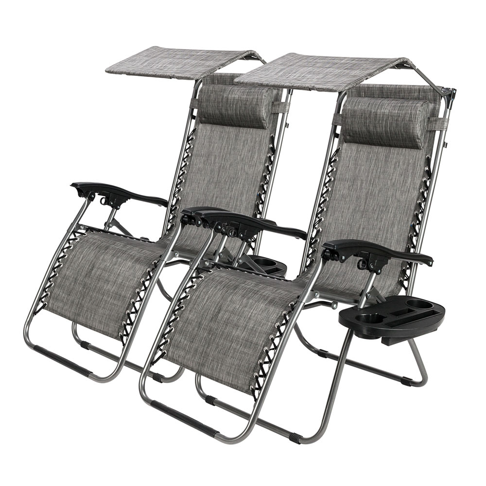 Most Current Details About Lot2 Zero Gravity Patio Lounge Beach Recliner Chairs W/ Canopy Cup Holder Pertaining To Folding Patio Lounge Beach Chairs With Canopy (View 4 of 25)