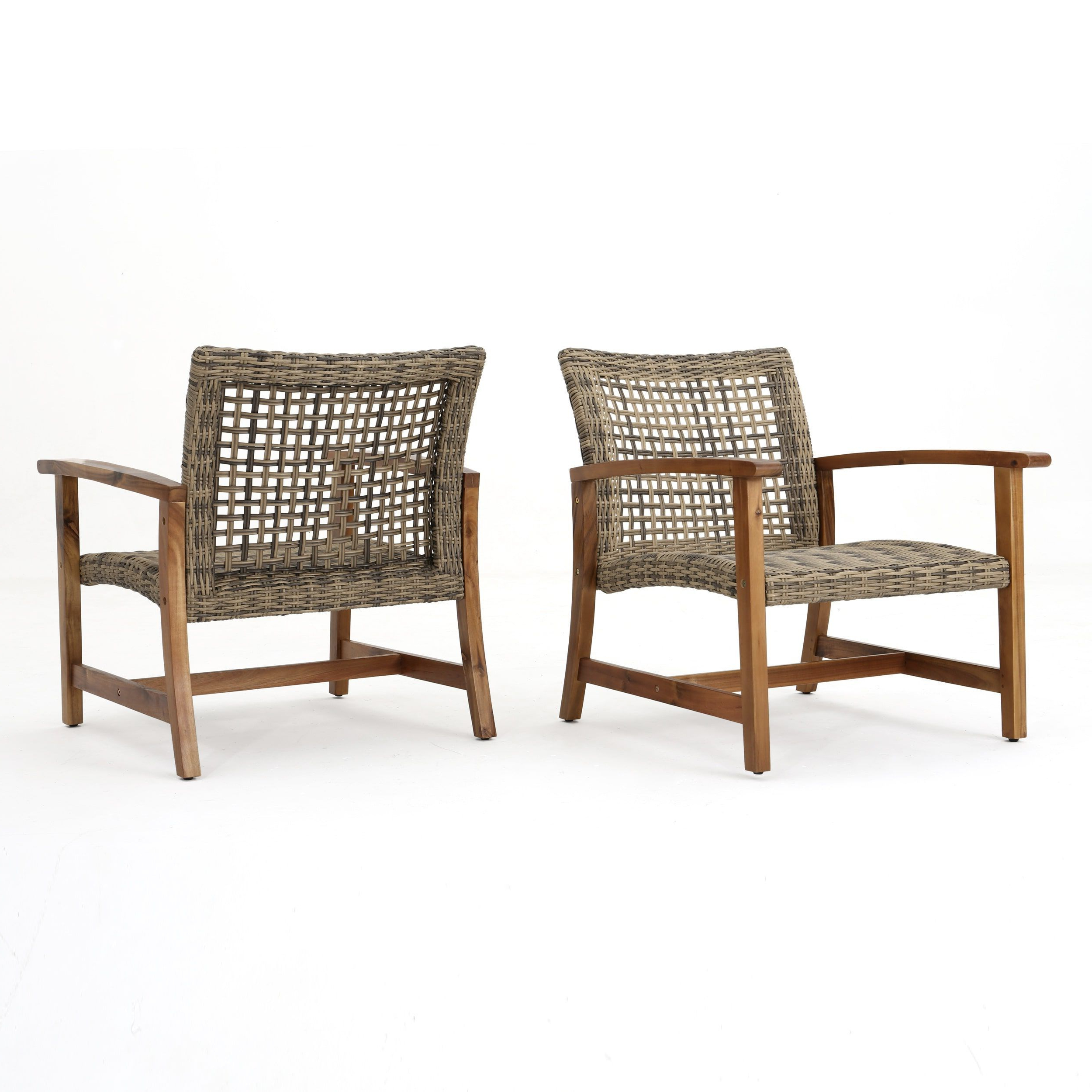Most Current Hampton Outdoor Mid Century Wicker Club Chair (set Of 2) For Hampton Outdoor Chaise Lounges Acacia Wood And Wicker (Gallery 18 of 25)