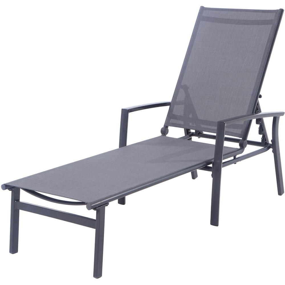 Most Current Myers Outdoor Aluminum Mesh Chaise Lounges With Regard To Hanover Naples Aluminum Adjustable Outdoor Chaise Lounge In Gray (View 10 of 25)