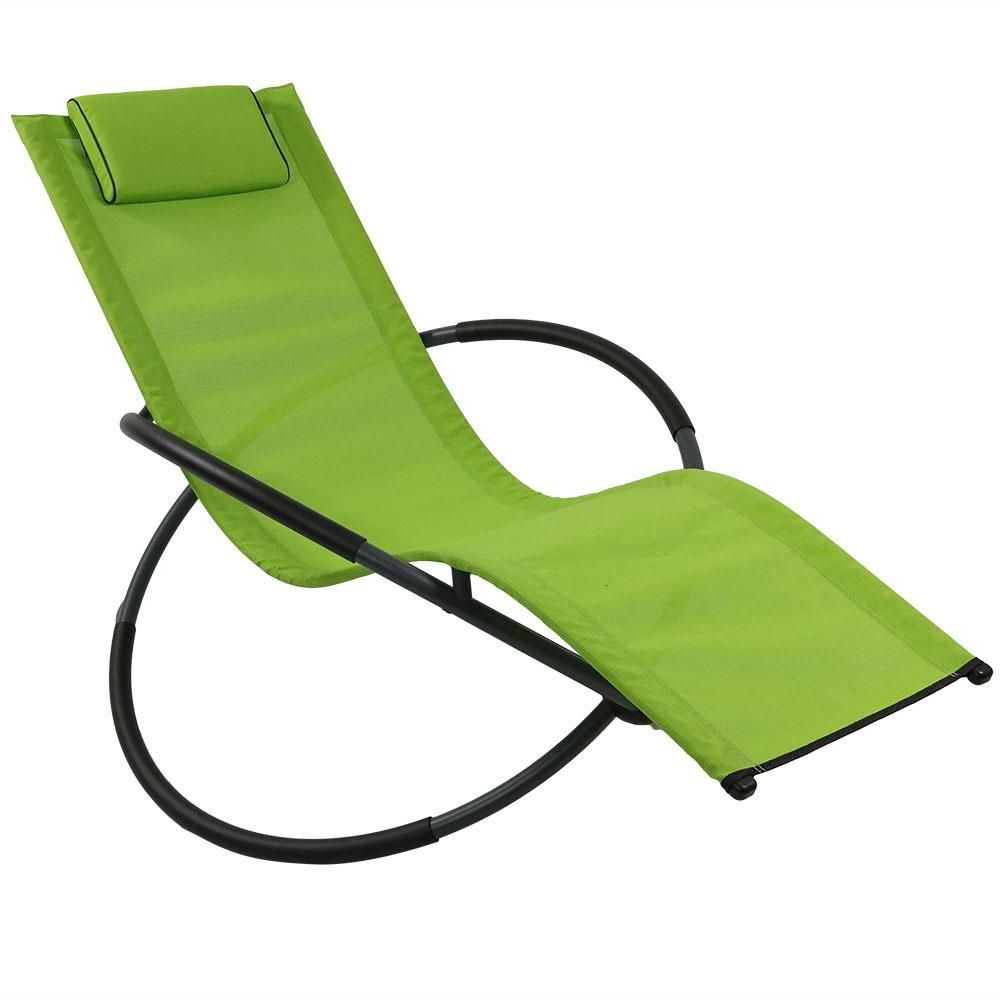 Most Current Orbital Patio Lounger Rocking Chairs With Regard To Sunnydaze Decor Orbital Folding Rocker Steel Outdoor Patio (Gallery 7 of 25)