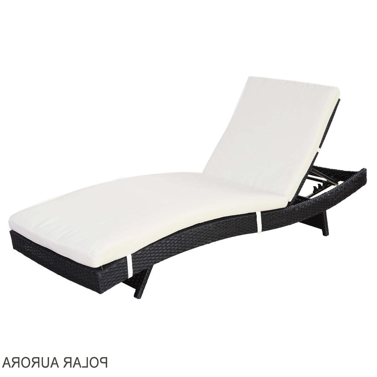 Most Current Outdoor Adjustable Rattan Wicker Chaise Pool Chairs With Cushions Inside Polar Aurora Adjustable Rattan Wicker Chaise Lounge Chair (View 11 of 25)