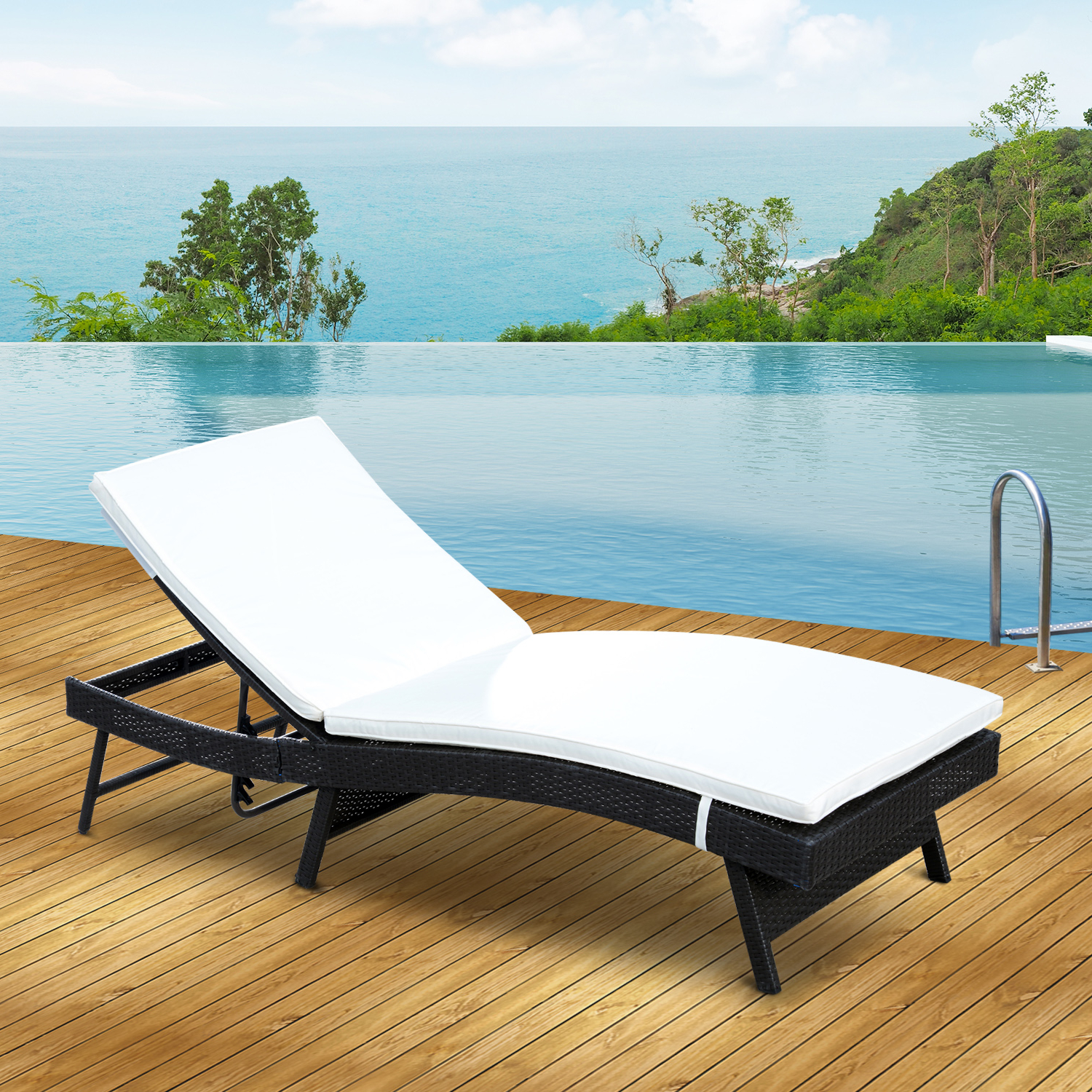 Most Current Outdoor Adjustable Rattan Wicker Chaise Pool Chairs With Cushions Throughout Cad $ (View 12 of 25)