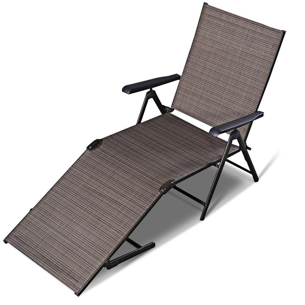 Most Current Outdoor Adjustable Reclining Wicker Chaise Lounges With Regard To Costway Steel Pool Chair Recliner Patio Furniture Adjustable Outdoor Chaise  Lounge (View 10 of 25)