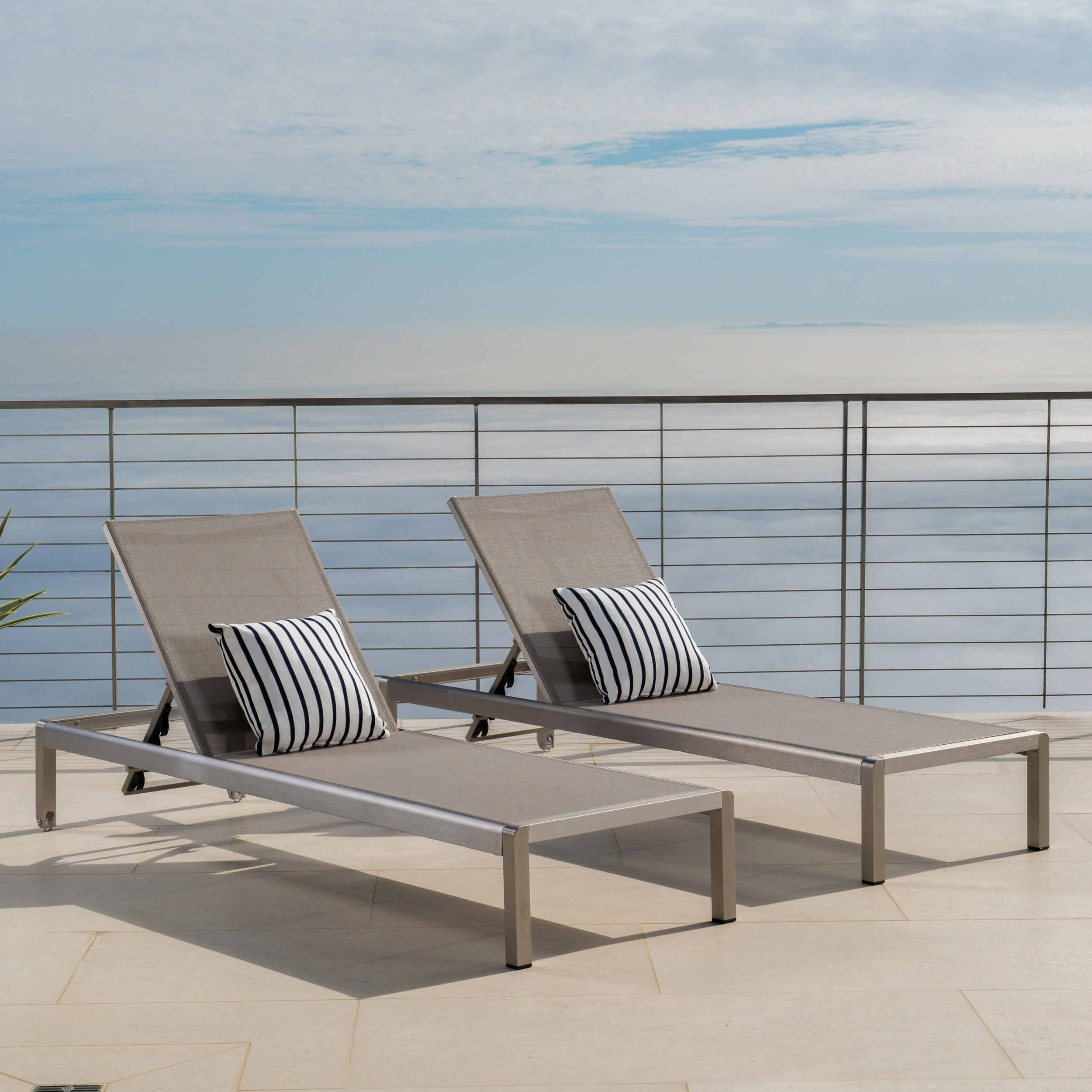 Most Current Outdoor Aluminum Chaise Lounges With Regard To Cape Coral Outdoor Aluminum Adjustable Chaise Lounge (set Of 2) Christopher Knight Home (View 22 of 25)