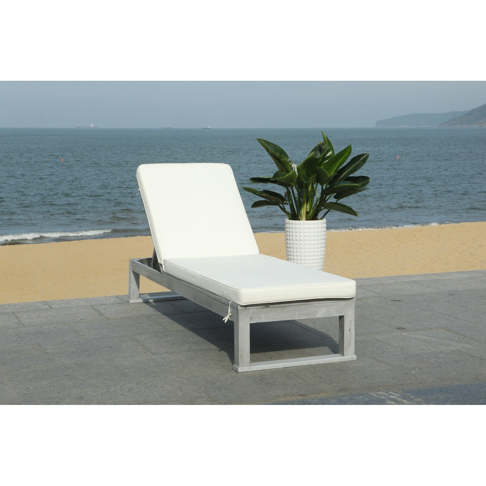 "Most Current Outdoor Living Azusa Sunloungers Pertaining To Safavieh Outdoor Living Solano Sunlounger Grey / White – 24.8"" X 80.9"" X (View 15 of 25)"
