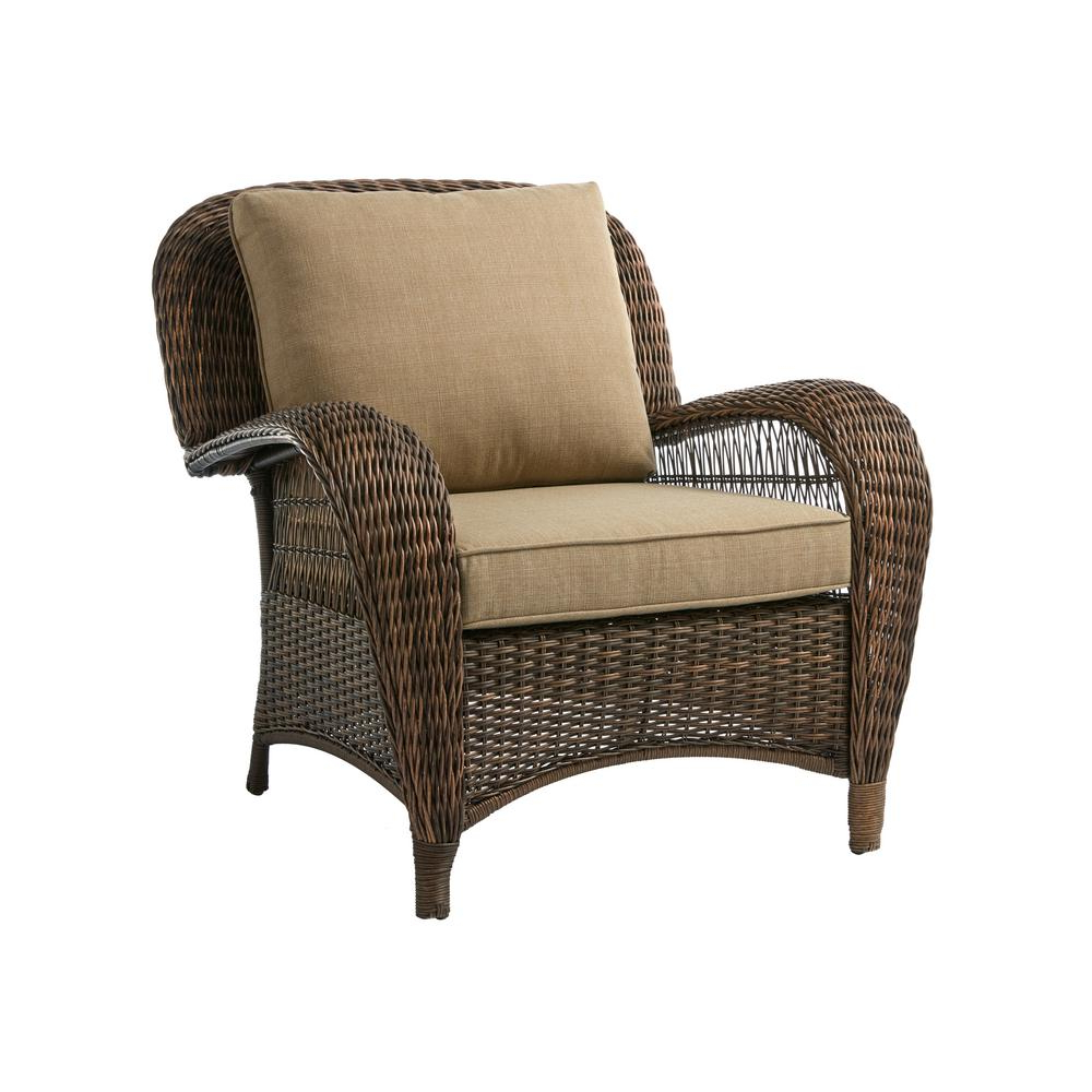 Most Current Outdoor Patio Lounge Chairs With Ottoman With Regard To Hampton Bay Beacon Park Brown Wicker Outdoor Patio Stationary Lounge Chair With Standard Toffee Tan Cushions (View 6 of 25)