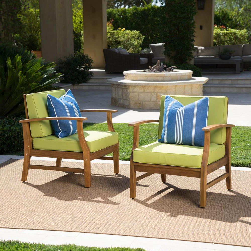 Most Current Perla Outdoor Acacia Wood Chaise Lounges Within Noble House Perla Teak Finish Wood Outdoor Club Lounge Chairs With Green Cushions (2 Pack) (Gallery 22 of 25)