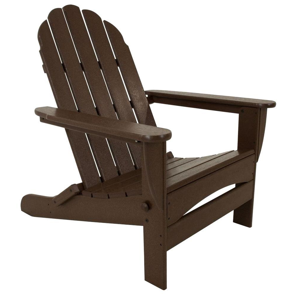 Most Current Polywood Classic Mahogany Oversized Curveback Plastic Patio Adirondack Chair Regarding Mahogany Adirondack Chairs With Ottoman (View 4 of 25)
