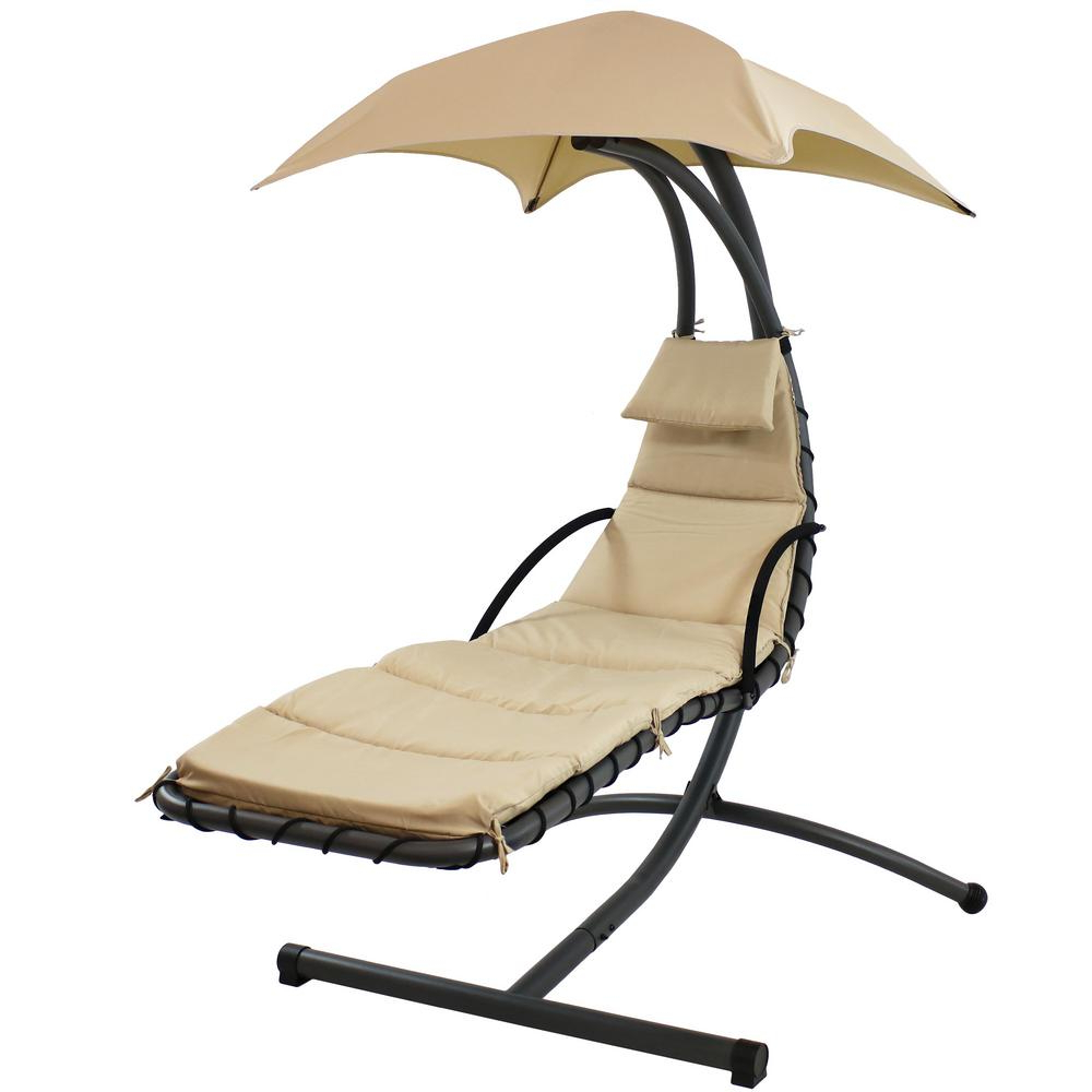 Most Current Sunnydaze Decor Steel Outdoor Floating Chaise Lounge Chair With Polyester  Beige Cushions And Canopy In Outdoor Living Inglewood Chaise Lounge Chairs (View 6 of 25)