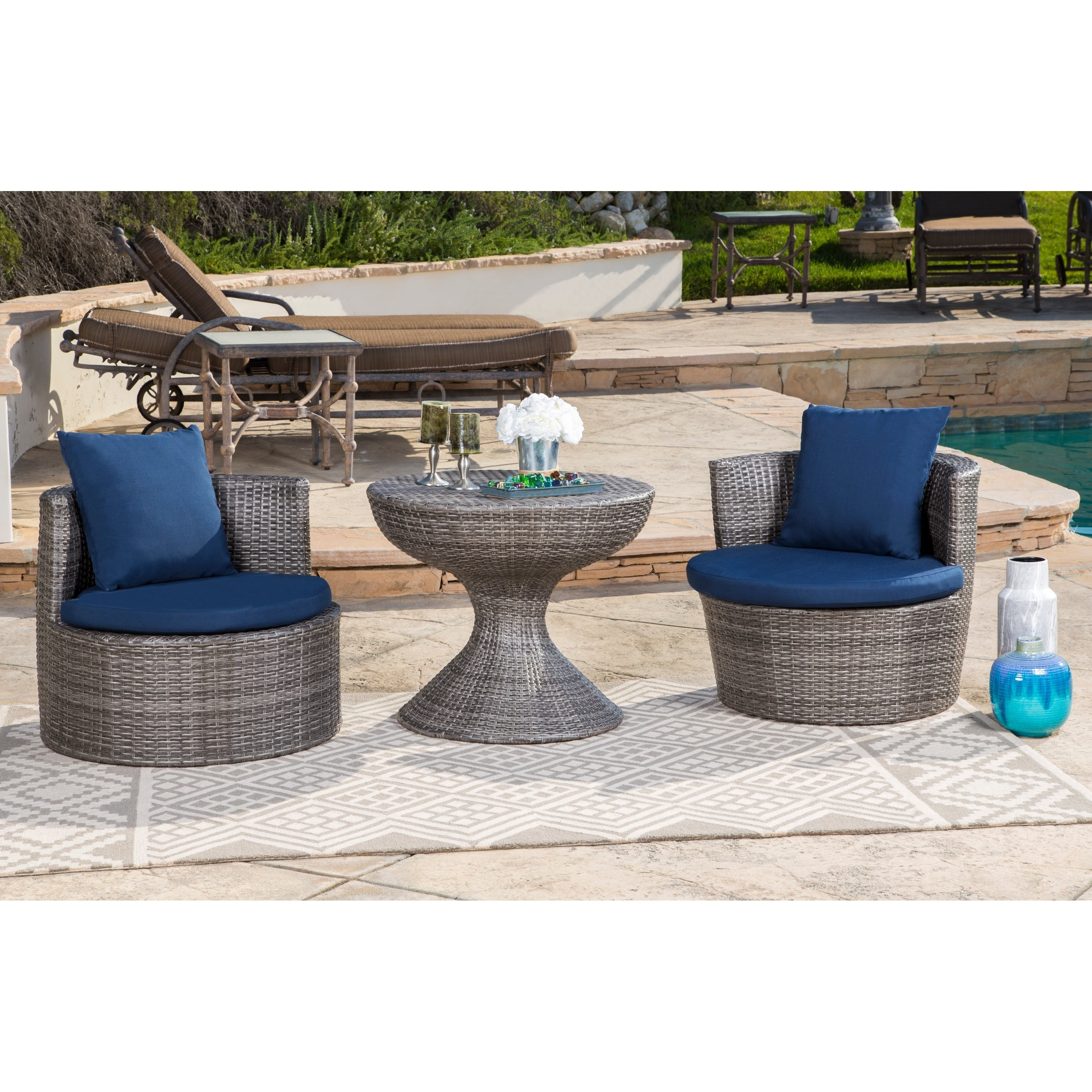 Most Popular Abbyson Palermo Outdoor Grey Wicker 3 Piece Patio Seating Set With 3 Piece Patio Lounger Sets (View 3 of 25)