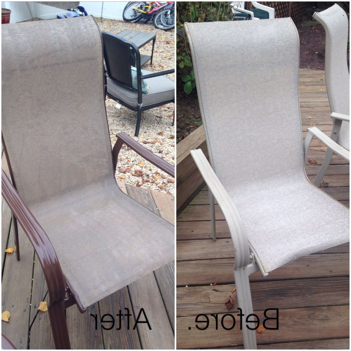 Most Popular Canvas Patio Sling Chairs With Regard To Old Patio Furniture No Problem ! Spray Paint Fabric (View 23 of 25)