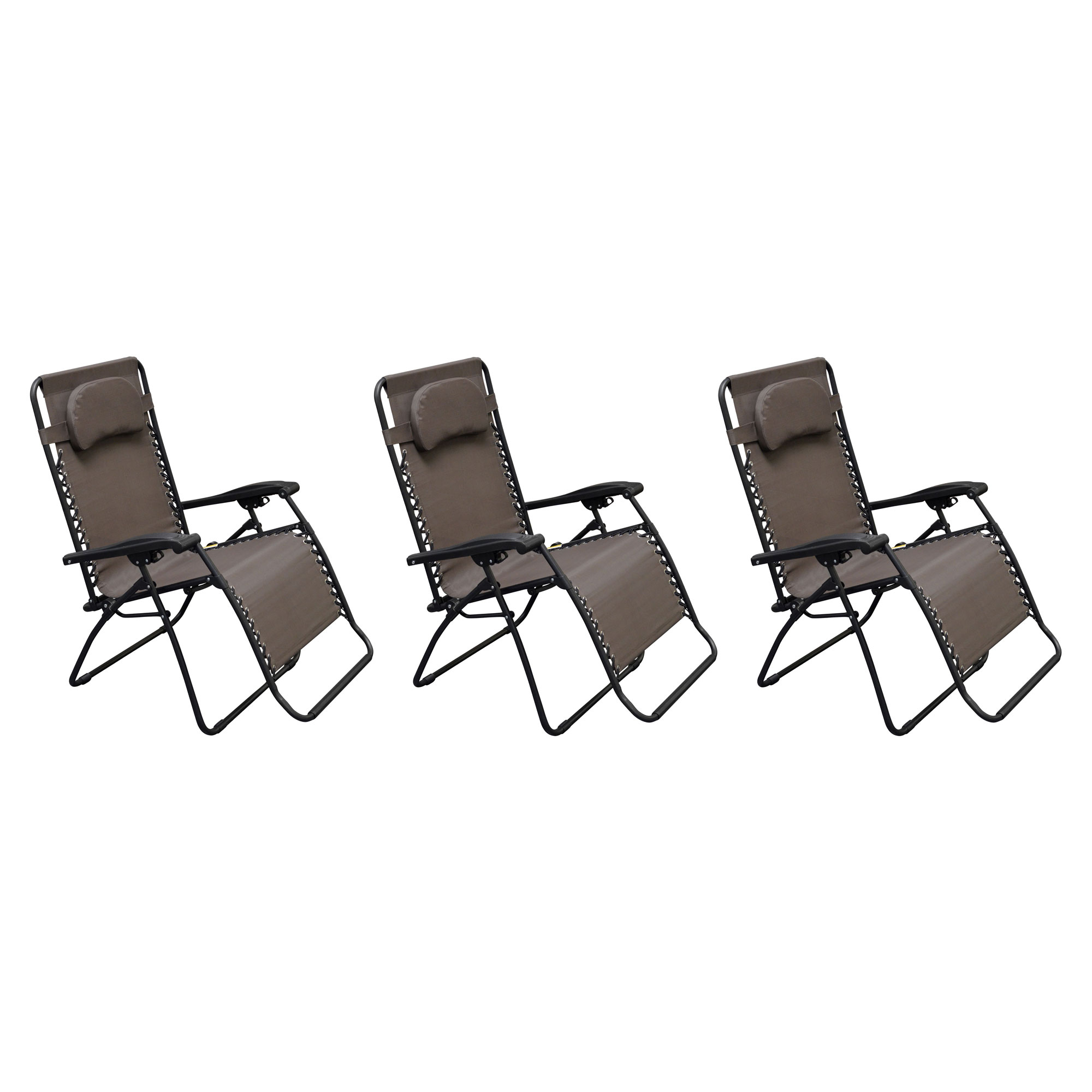 Most Popular Caravan Canopy Infinity Zero Gravity Frame Oversized Patio Chair, Brown (3 Pack) Regarding Caravan Canopy Zero Gravity Chairs (View 3 of 25)