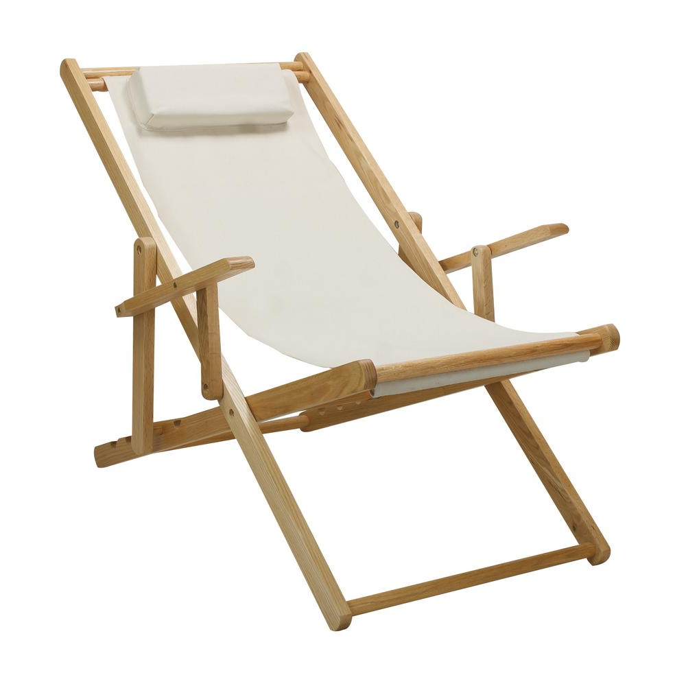 Most Popular Casual Home Natural Frame And Natural Canvas Solid Wood Regarding Canvas Patio Sling Chairs (View 9 of 25)