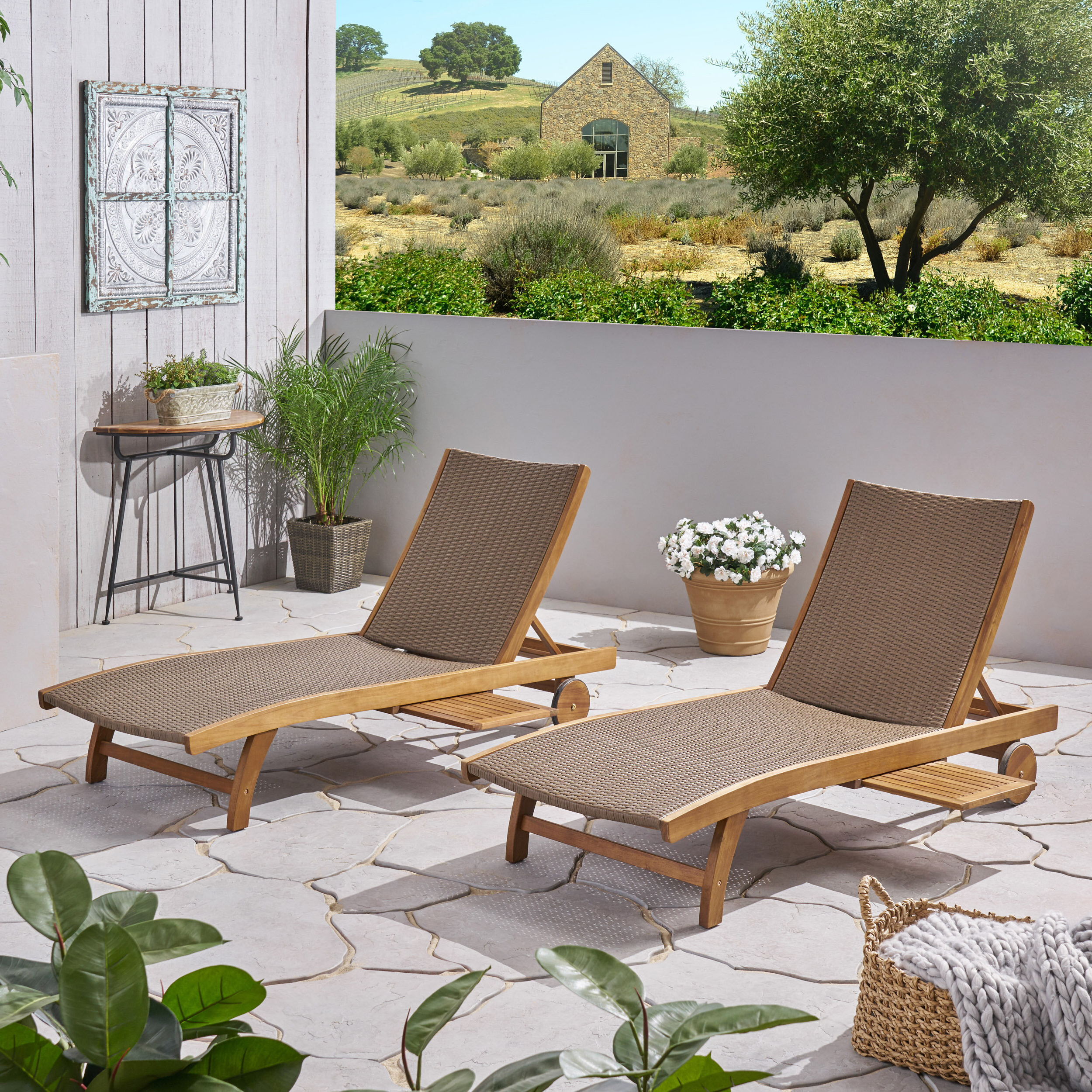 Most Popular Cleghorn Reclining Chaise Lounge For Outdoor Rustic Acacia Wood Chaise Lounges With Wicker Seats (View 11 of 25)