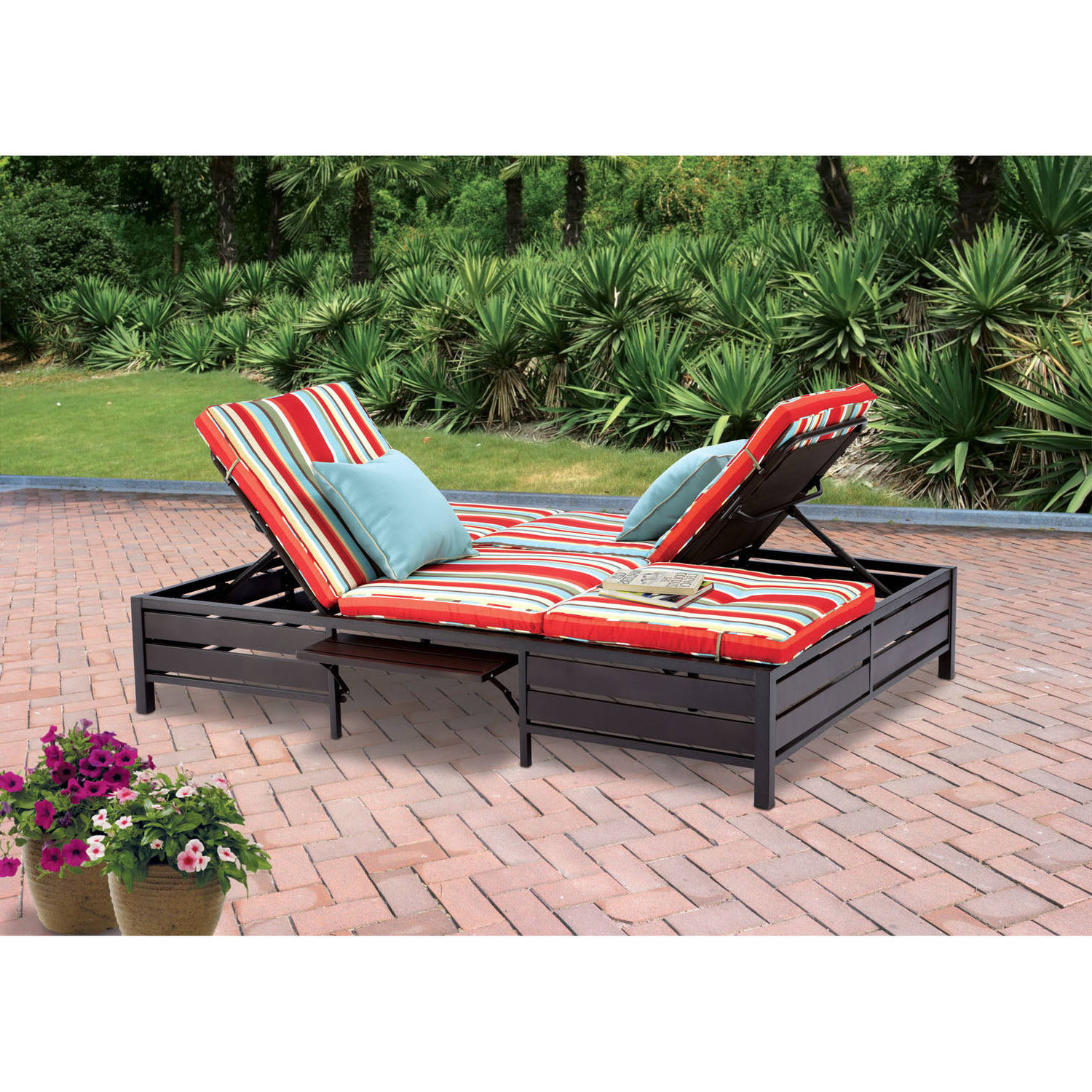Most Popular Mainstays Outdoor Double Chaise Lounger, Stripe, Seats 2 Pertaining To Resin Wicker Multi Position Double Patio Chaise Lounges (View 4 of 25)