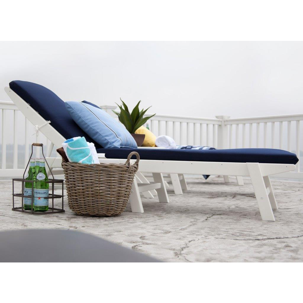 Most Popular Nautical 3 Piece Outdoor Chaise Lounge Sets With Wheels And Table Intended For Polywood® Nautical 3 Piece Chaise Set With Cushions (View 20 of 25)