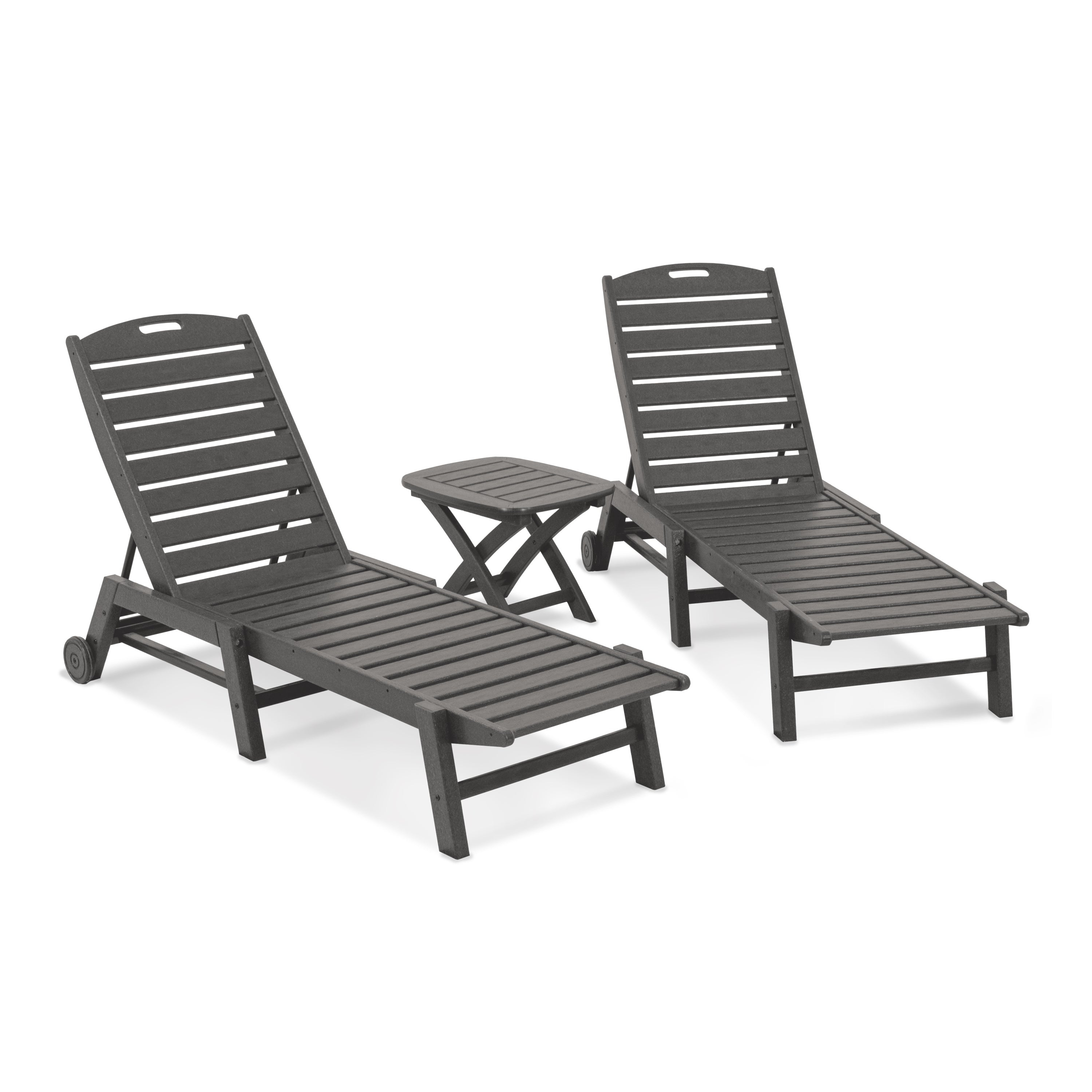Most Popular Nautical 3 Piece Outdoor Chaise Lounge Sets With Wheels And Table With Regard To Polywood® Nautical 3 Piece Outdoor Chaise Lounge Set With Table (View 3 of 25)