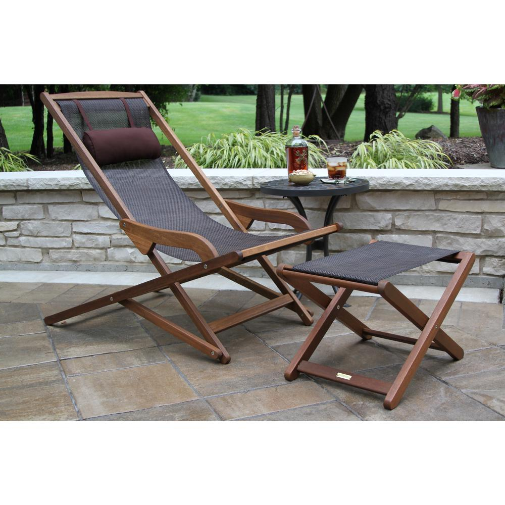 Most Popular Outdoor Interiors Dark Brown Foldable Sling And Eucalyptus Outdoor Lounge  Chair With Head Pillow Intended For Outdoor Sling Eucalyptus Chaise Loungers (View 8 of 25)
