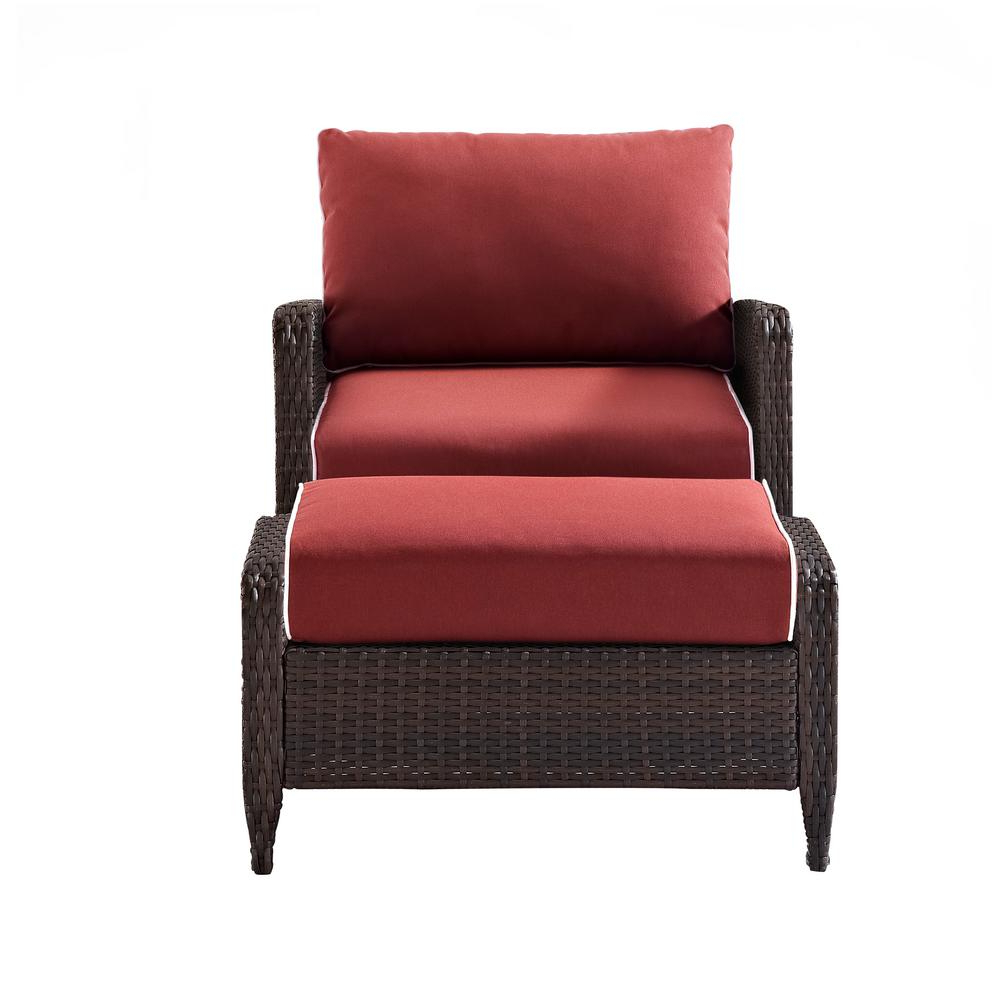 Most Popular Outdoor Patio Lounge Chairs With Ottoman Pertaining To Crosley Kiawah 2 Piece Wicker Outdoor Lounge Chair And Ottoman With Sangria Cushion (View 22 of 25)