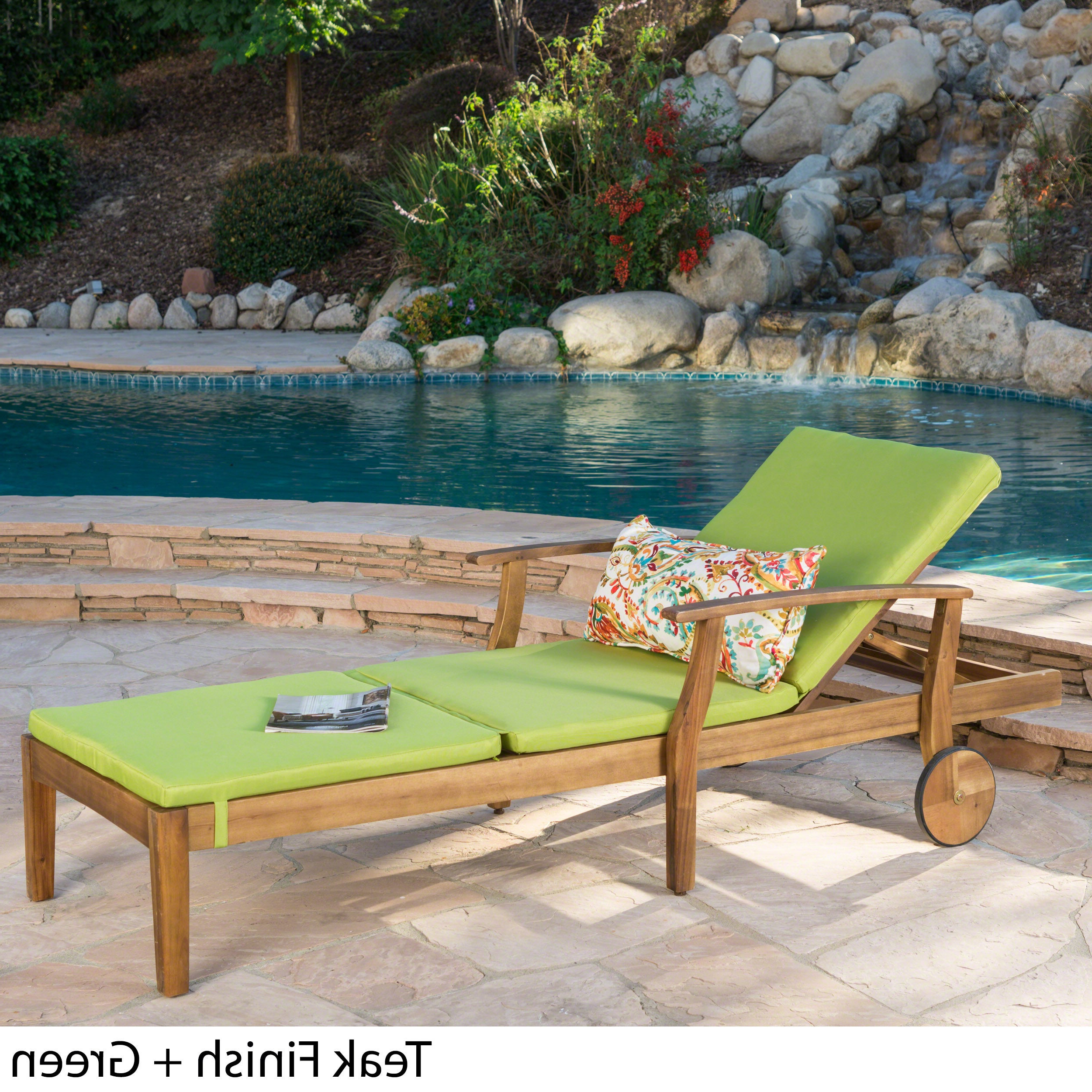 Most Popular Perla Outdoor Acacia Wood Chaise Lounge With Cushion Intended For Perla Outdoor Acacia Wood Chaise Lounge With Cushionchristopher Knight Home (View 3 of 25)
