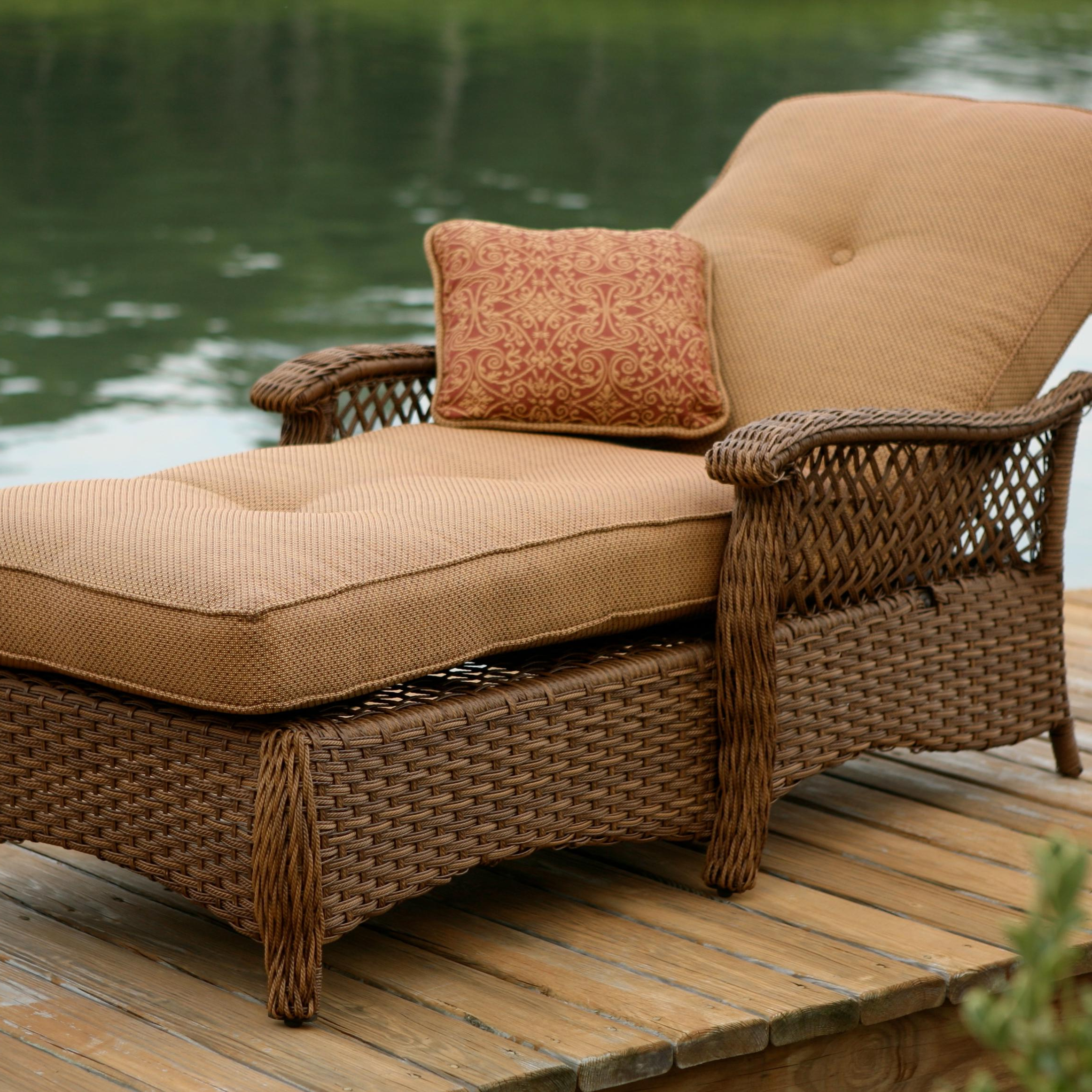 Most Recent Agio Veranda–agio Outdoor Tan Woven Chaise Lounge Chair Inside Resin Wicker Multi Position Double Patio Chaise Lounges (View 16 of 25)