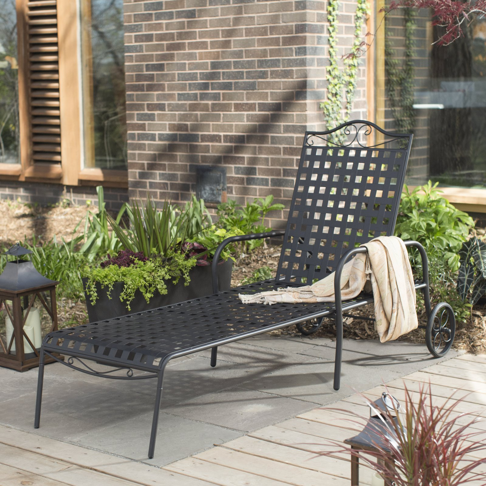 Most Recent Belham Living Capri Wrought Iron Multi Position Single Outdoor Chaise  Lounge – Walmart Inside Outdoor Multi Position Chaise Lounges (View 9 of 25)