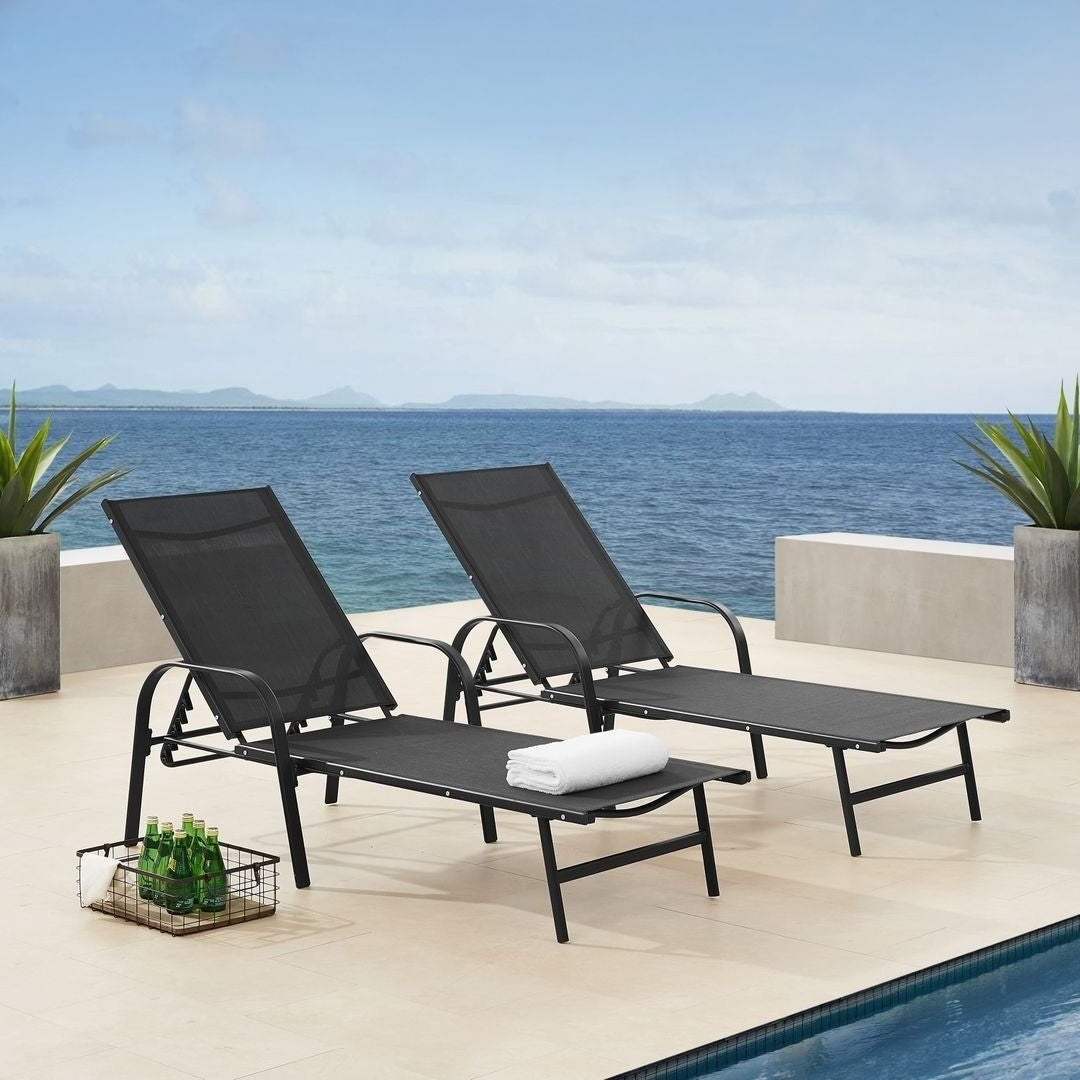 Most Recent Black Sling Fabric Adjustable Chaise Lounges Within Corvus Antonio Outdoor Black Sling Fabric Adjustable Chaise Lounge (View 8 of 25)