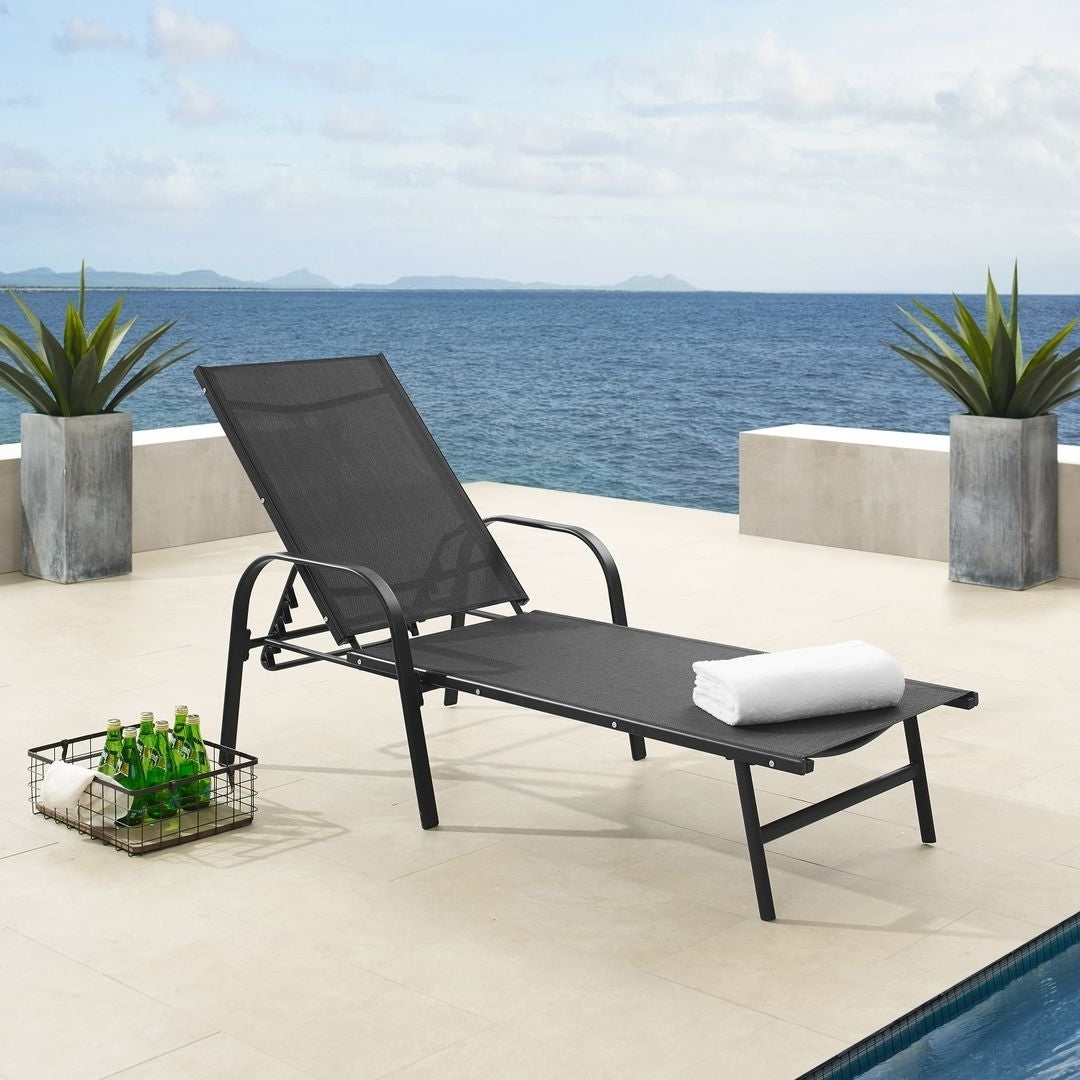Most Recent Corvus Antonio Outdoor Black Sling Fabric Adjustable Chaise Lounge In Black Sling Fabric Adjustable Chaise Lounges (View 2 of 25)