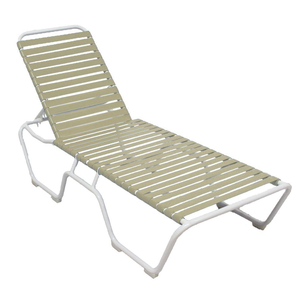 Most Recent Myers Outdoor Aluminum Mesh Chaise Lounges Intended For Marco Island White Commercial Grade Aluminum Vinyl Strap Outdoor Chaise Lounge In Putty (2 Pack) (View 22 of 25)
