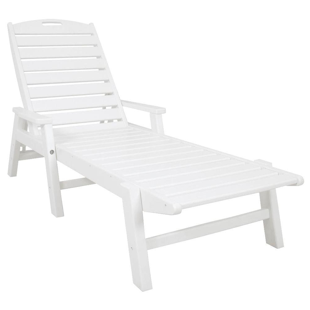 Most Recent Nautical Outdoor Chaise Lounges With Arms Regarding Polywood Nautical White Stackable Plastic Outdoor Patio Chaise Lounge (View 11 of 25)