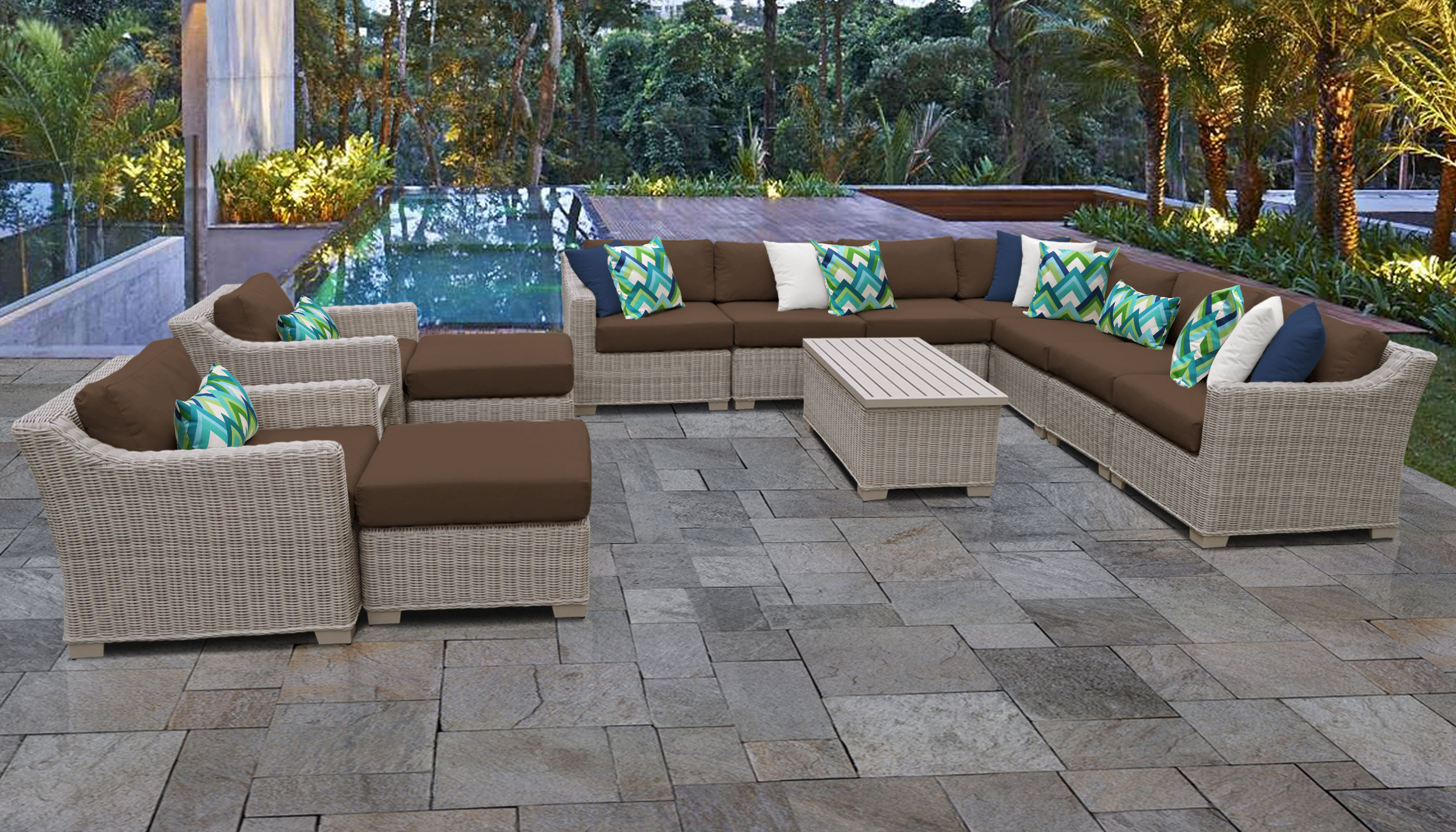 Most Recent Outdoor 13 Piece Wicker Patio Sets With Cushions In Coast 13 Piece Outdoor Wicker Patio Furniture Set 13a (View 6 of 25)